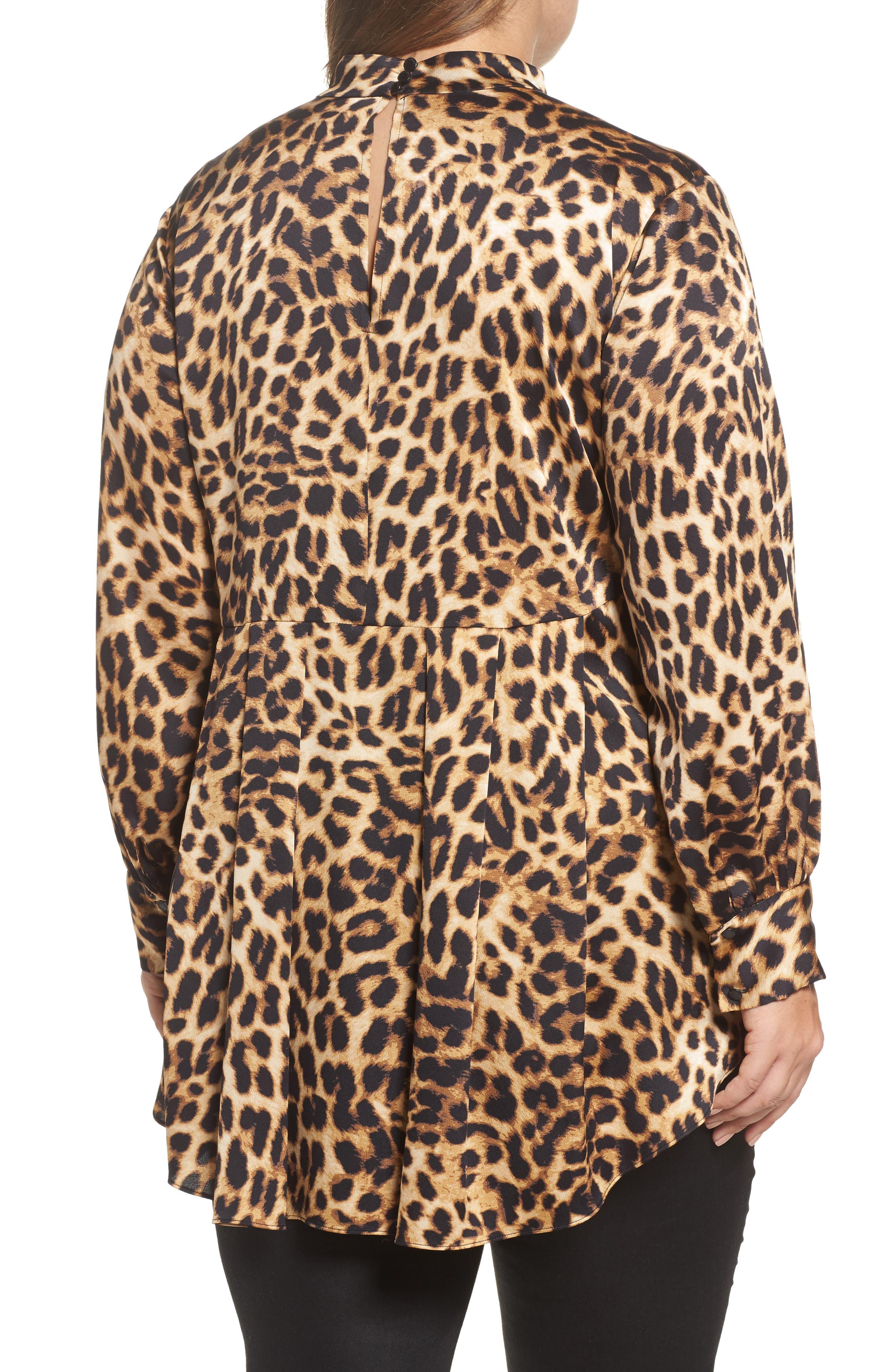 Mock Choker Neck Leopard Print Top,                             Alternate thumbnail 2, color,                             Rich Black