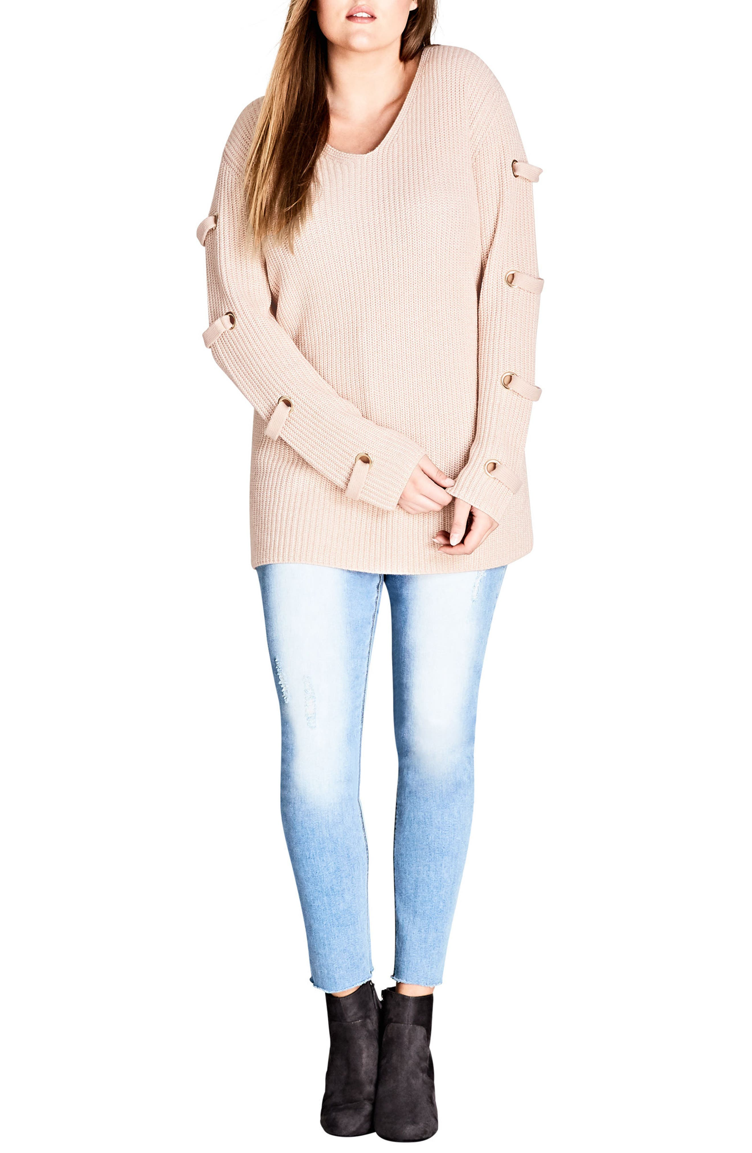 Eyelet Sleeve Sweater,                         Main,                         color, Champagne