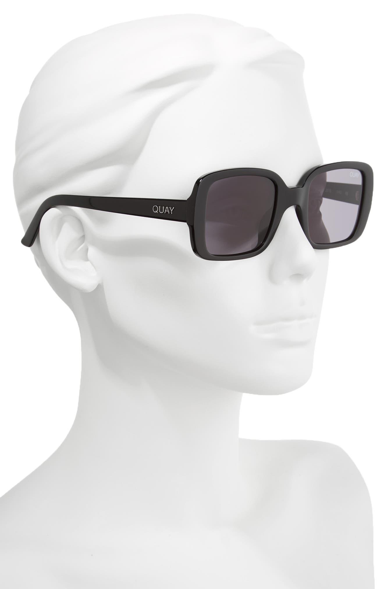 '20s 54mm Square Sunglasses,                             Alternate thumbnail 2, color,                             Black/ Smoke