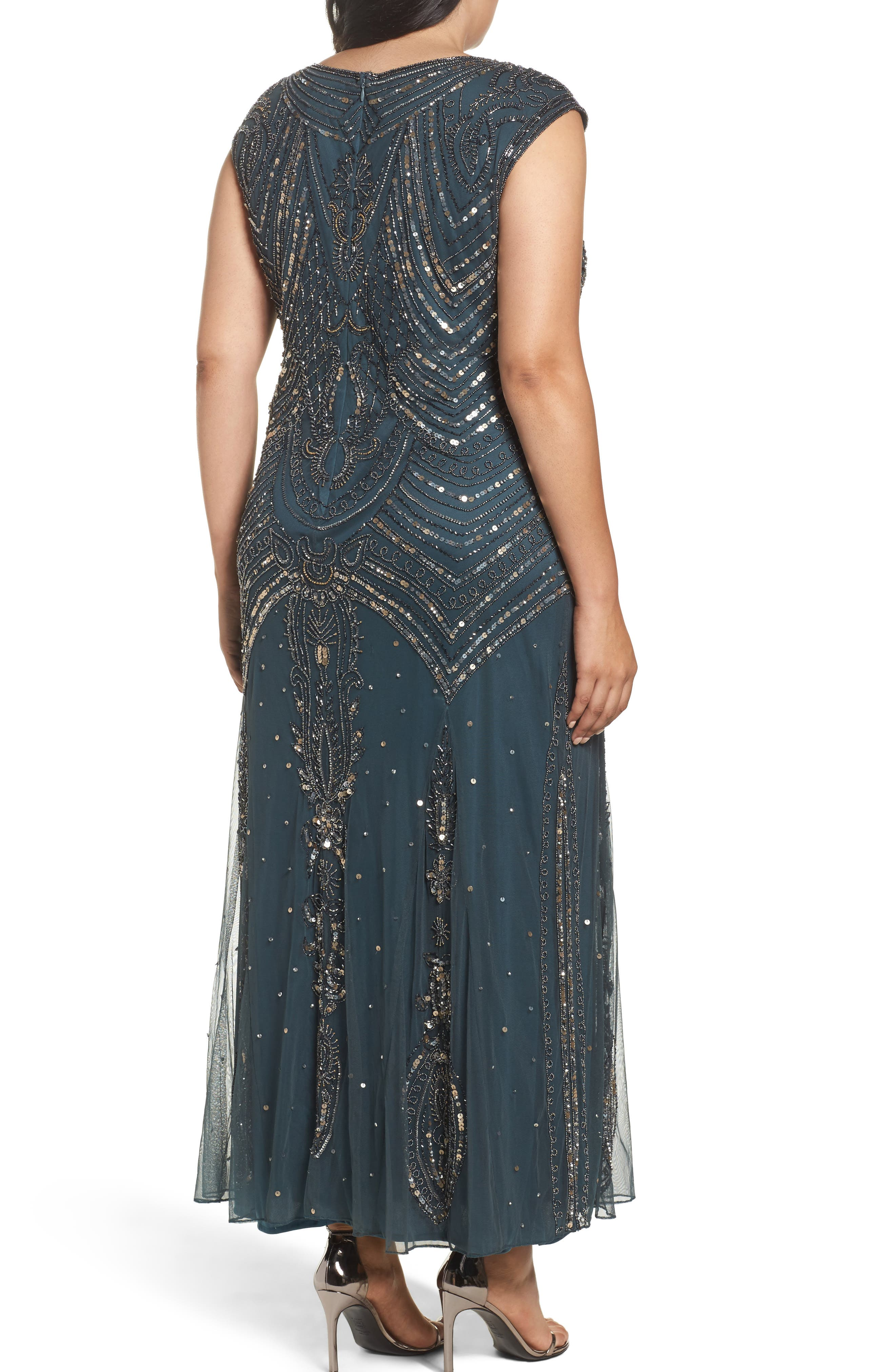 Beaded Mesh Gown,                             Alternate thumbnail 2, color,                             Teal