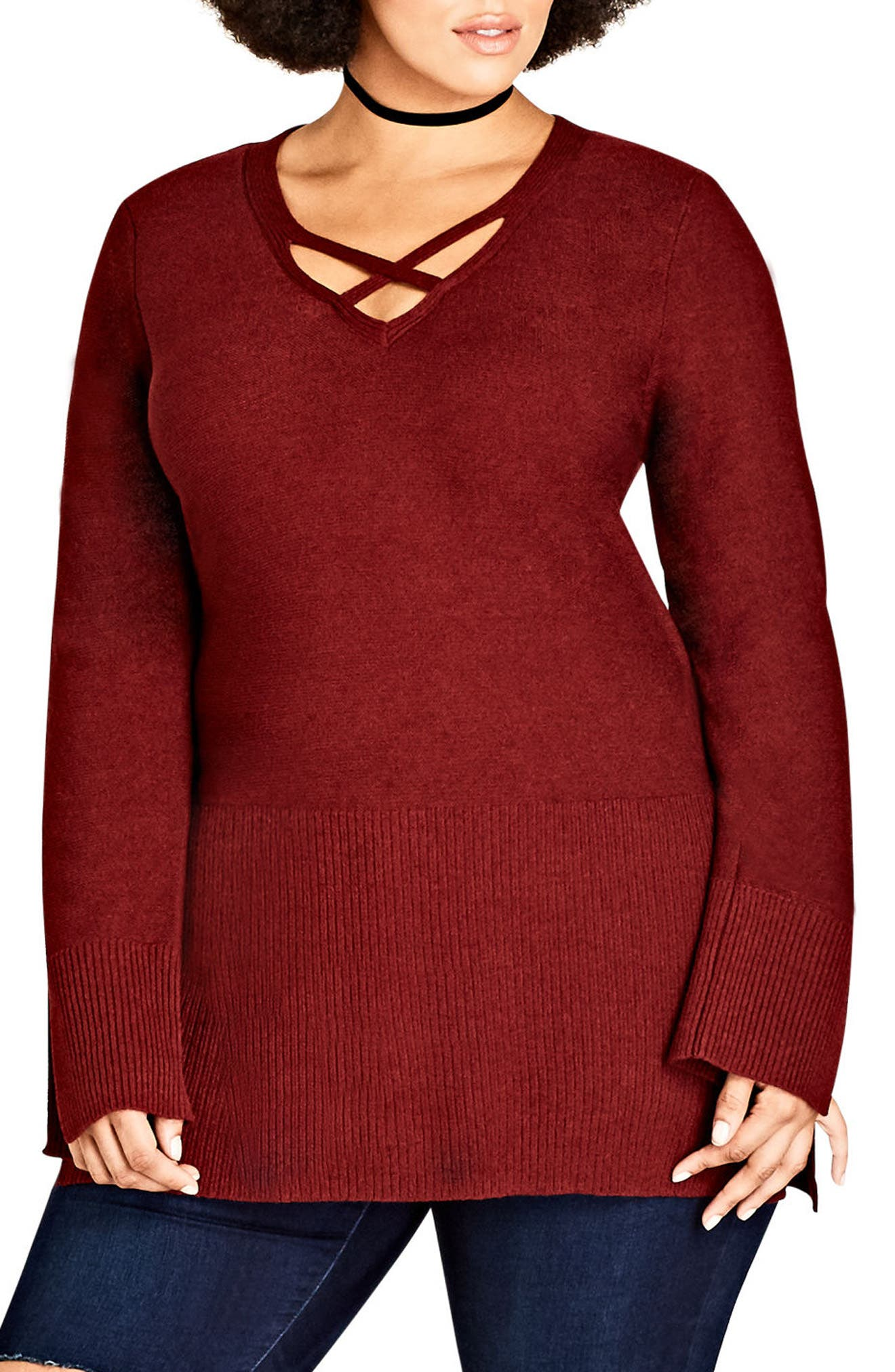 Crisscross Neck Sweater,                         Main,                         color, Ruby
