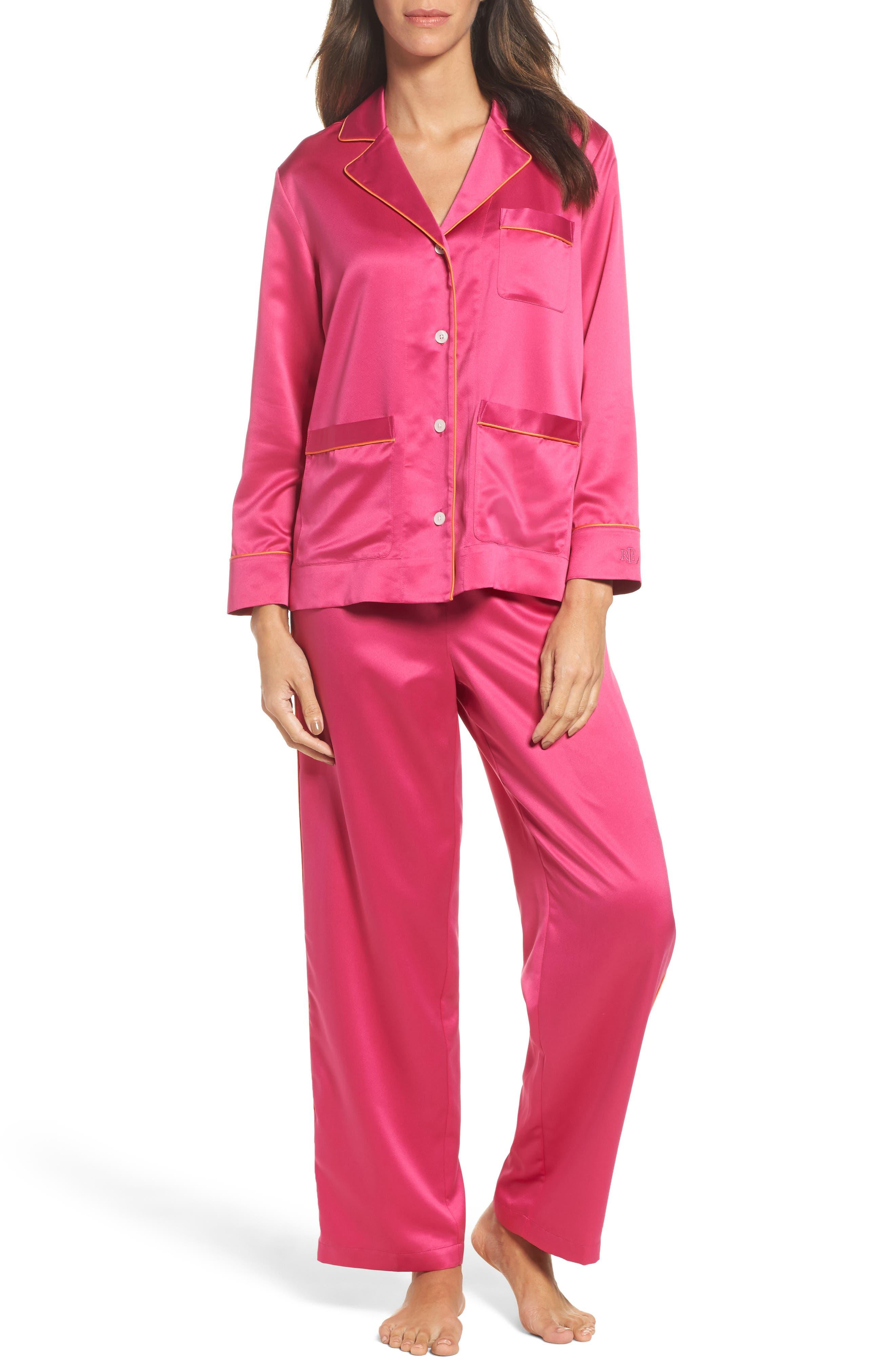 Satin Pajamas,                         Main,                         color, Pink
