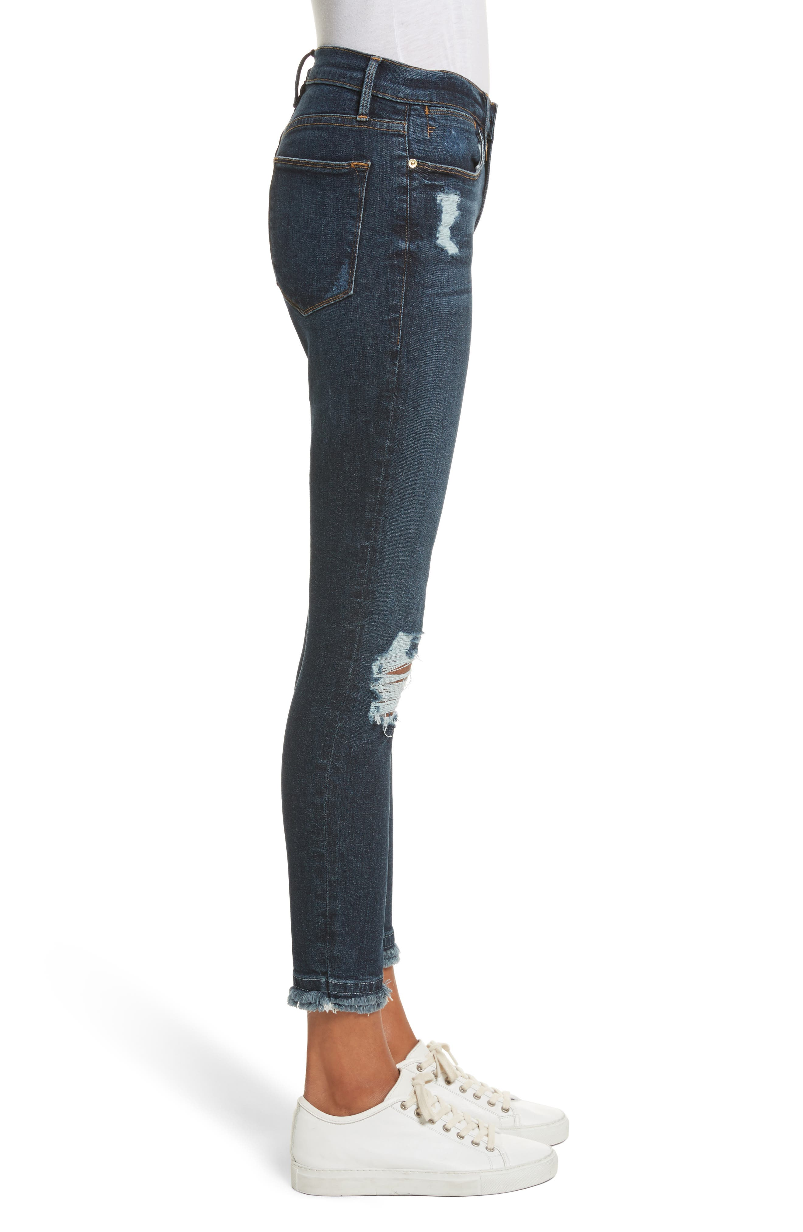 Le High High Waist Ankle Skinny Jeans,                             Alternate thumbnail 4, color,                             Montclair