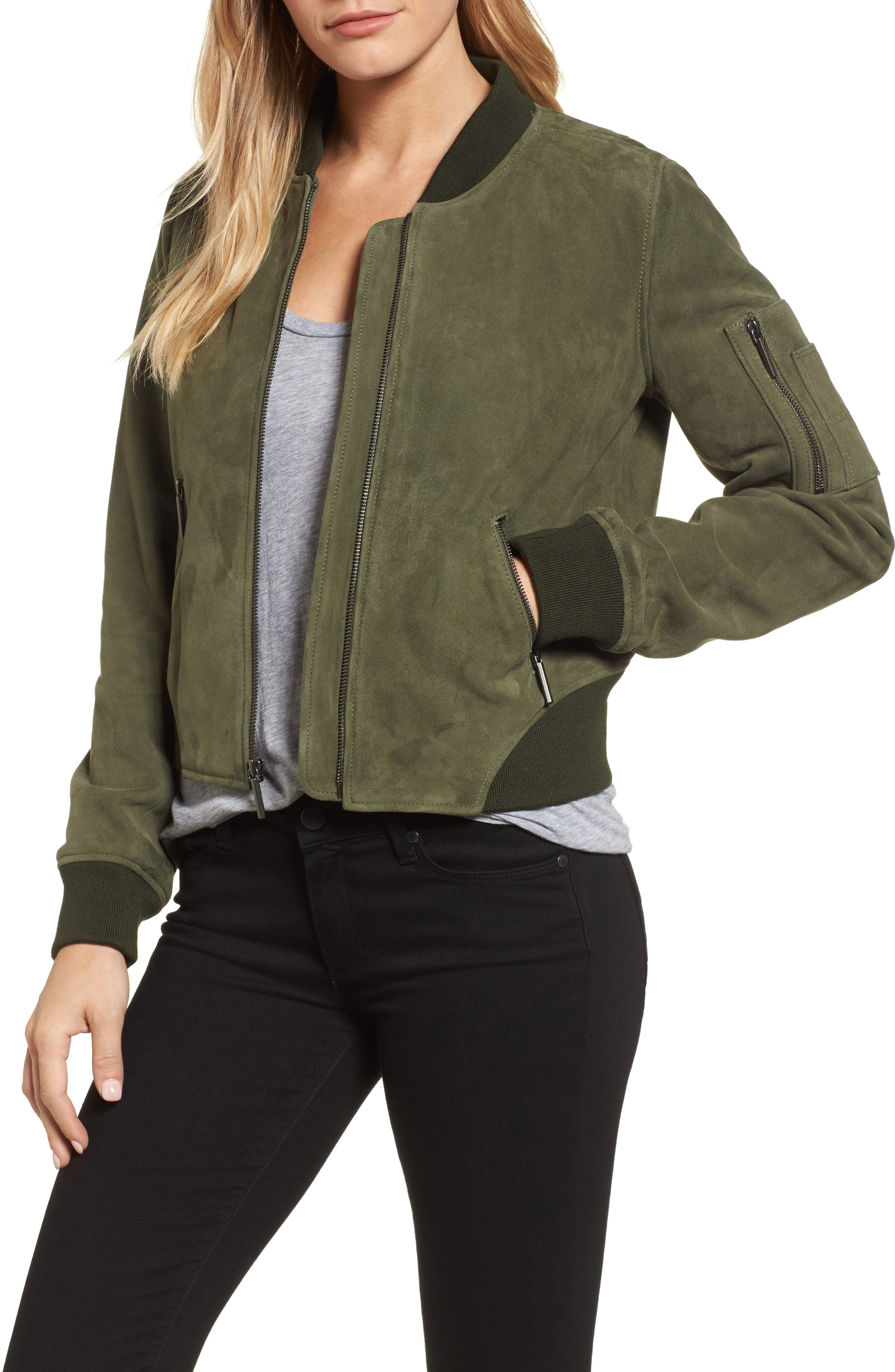 Crop Suede Bomber Jacket,                             Main thumbnail 1, color,                             Green Grove