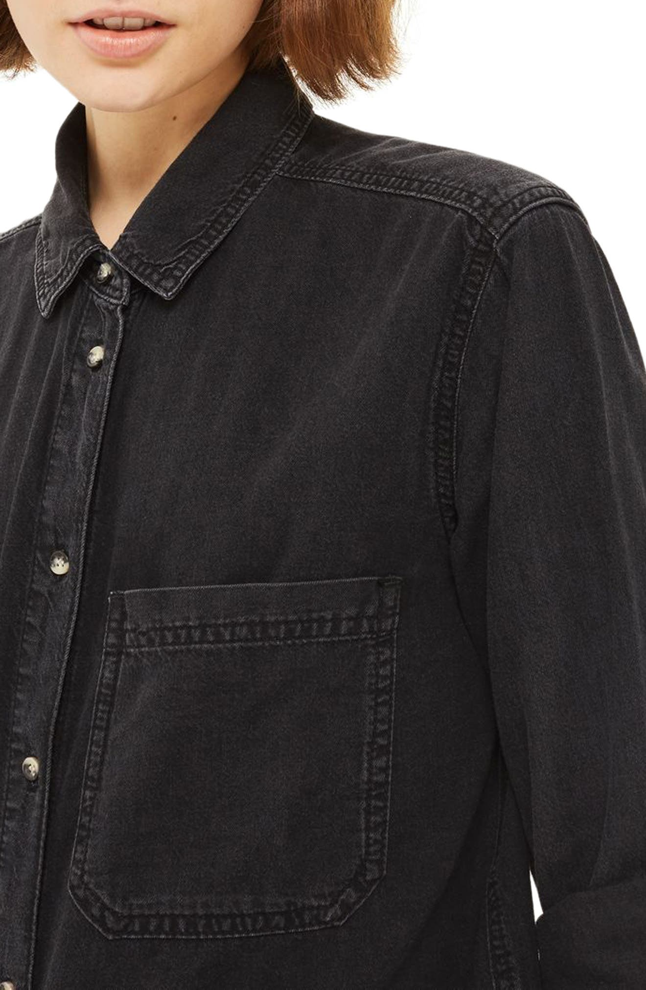 Drake Oversize Denim Shirt,                             Alternate thumbnail 3, color,                             Washed Black