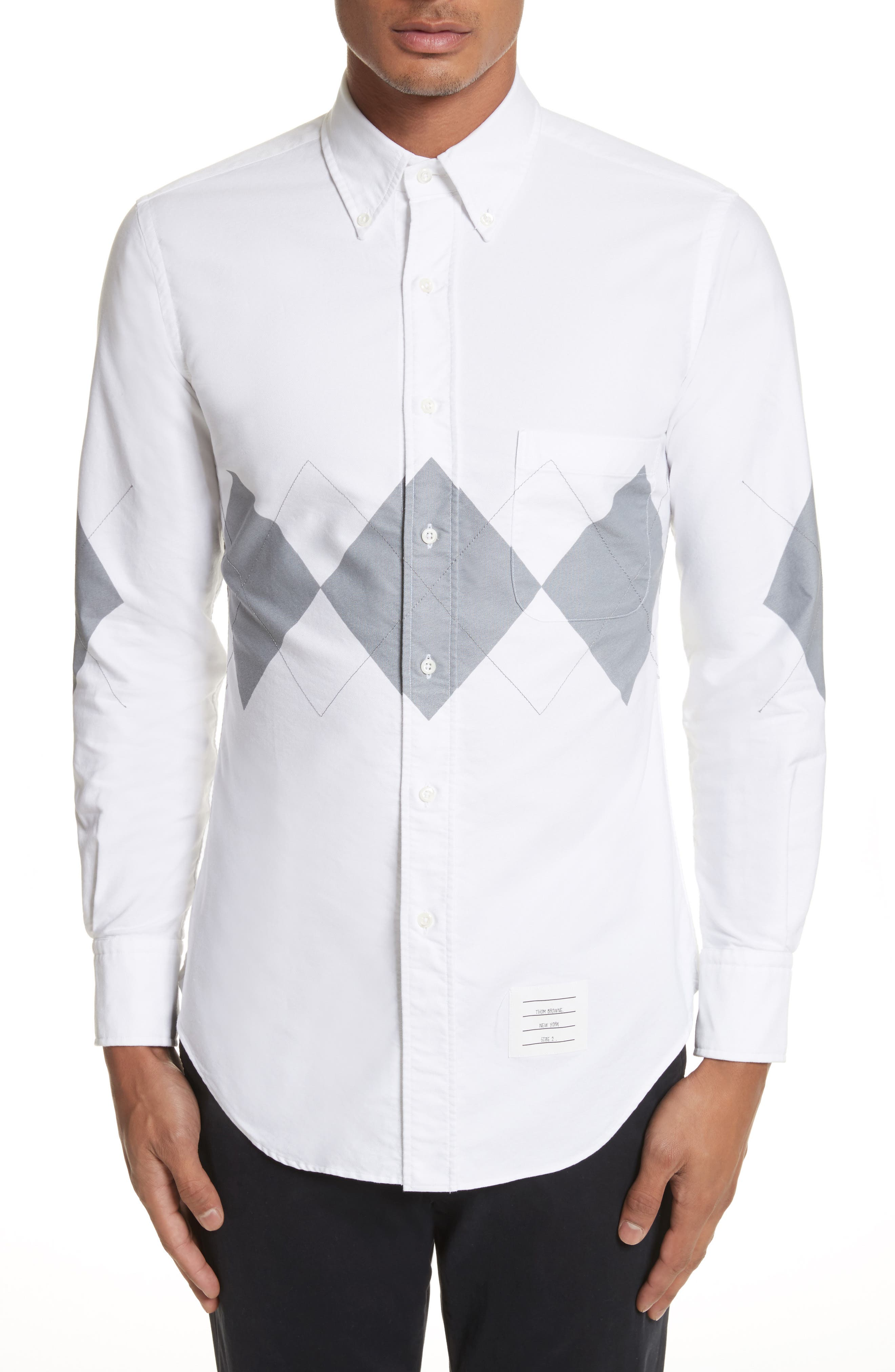 Argyle Print Woven Shirt,                         Main,                         color, White