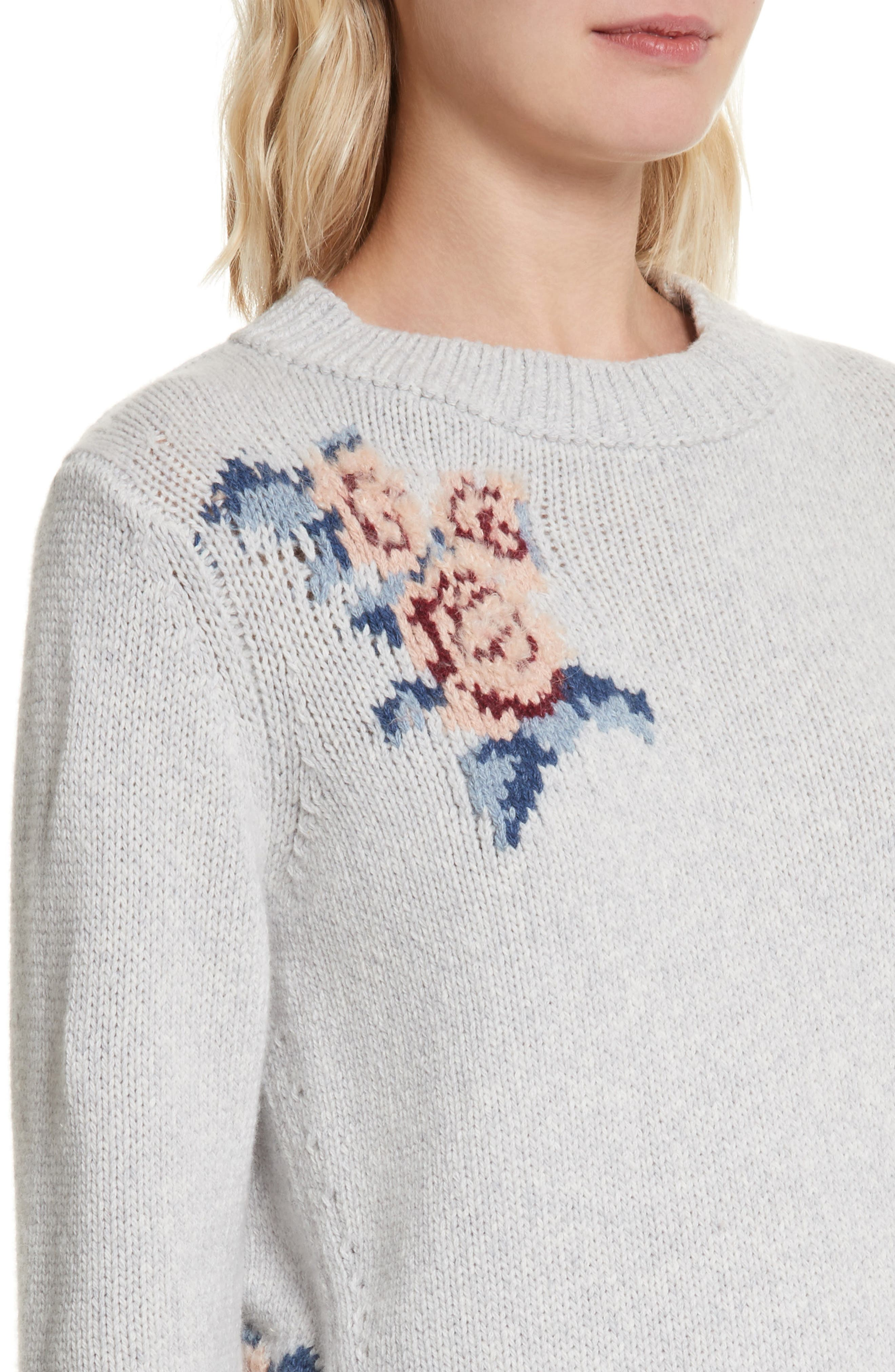 Floral Intarsia Pullover,                             Alternate thumbnail 4, color,                             Light Heather Grey Combo
