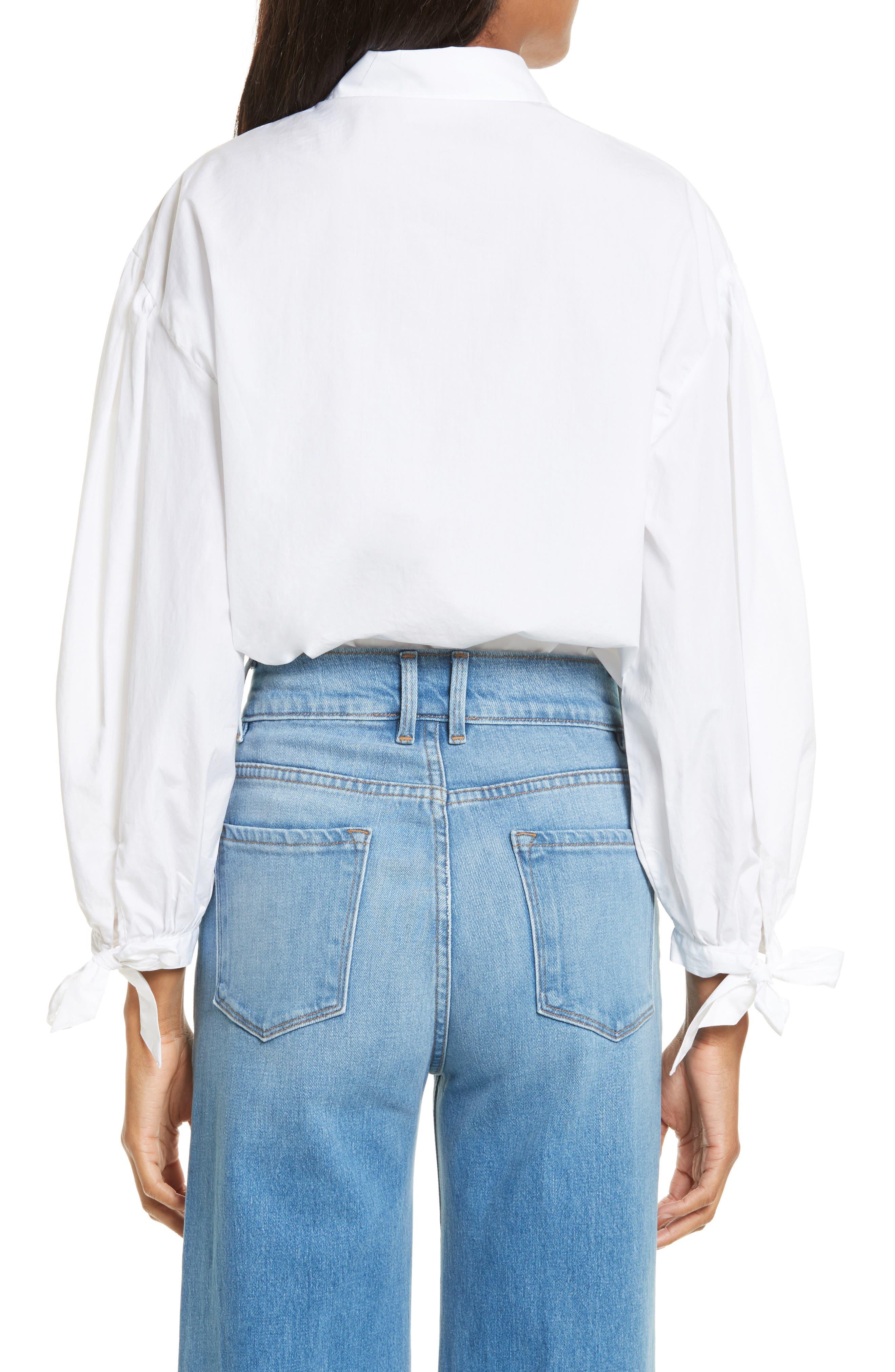 Tie Cuff Cotton Shirt,                             Alternate thumbnail 2, color,                             Blanc