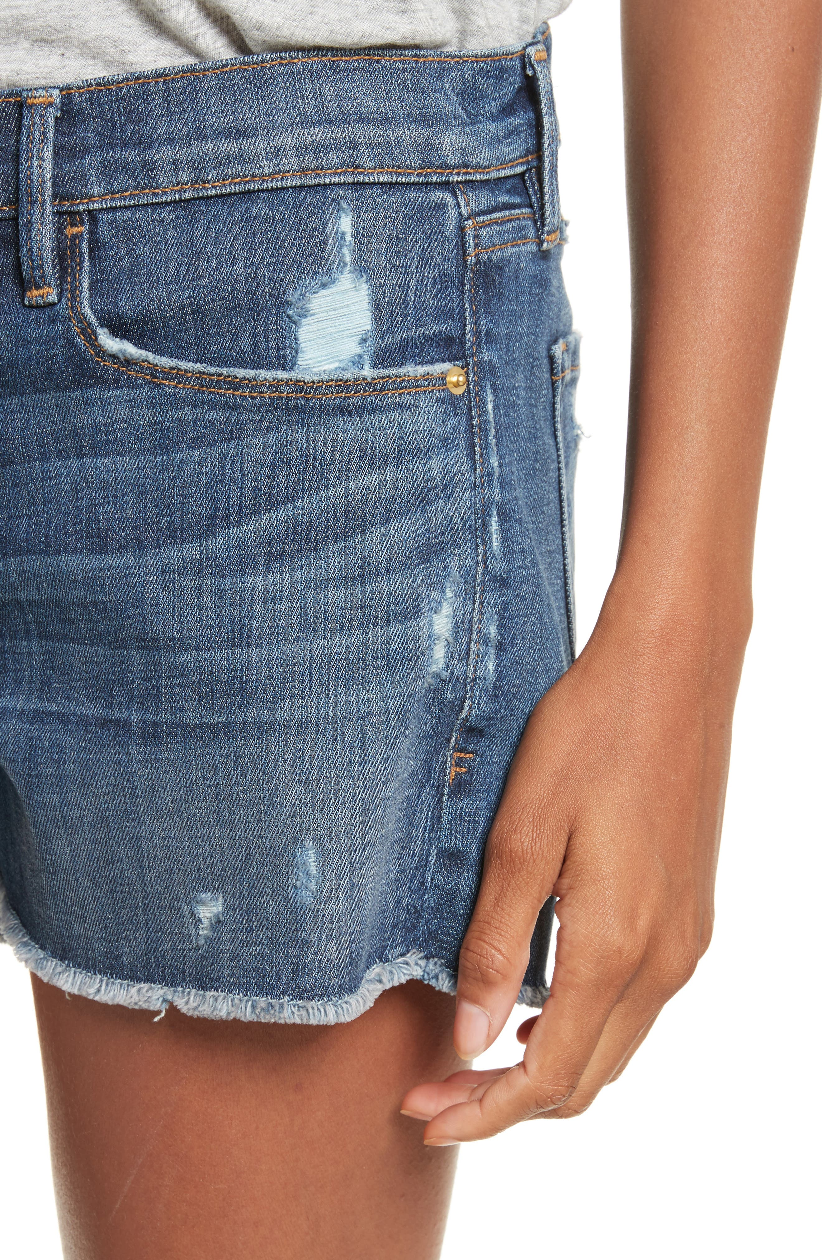 Le Cutoff Denim Shorts,                             Alternate thumbnail 5, color,                             Eckford