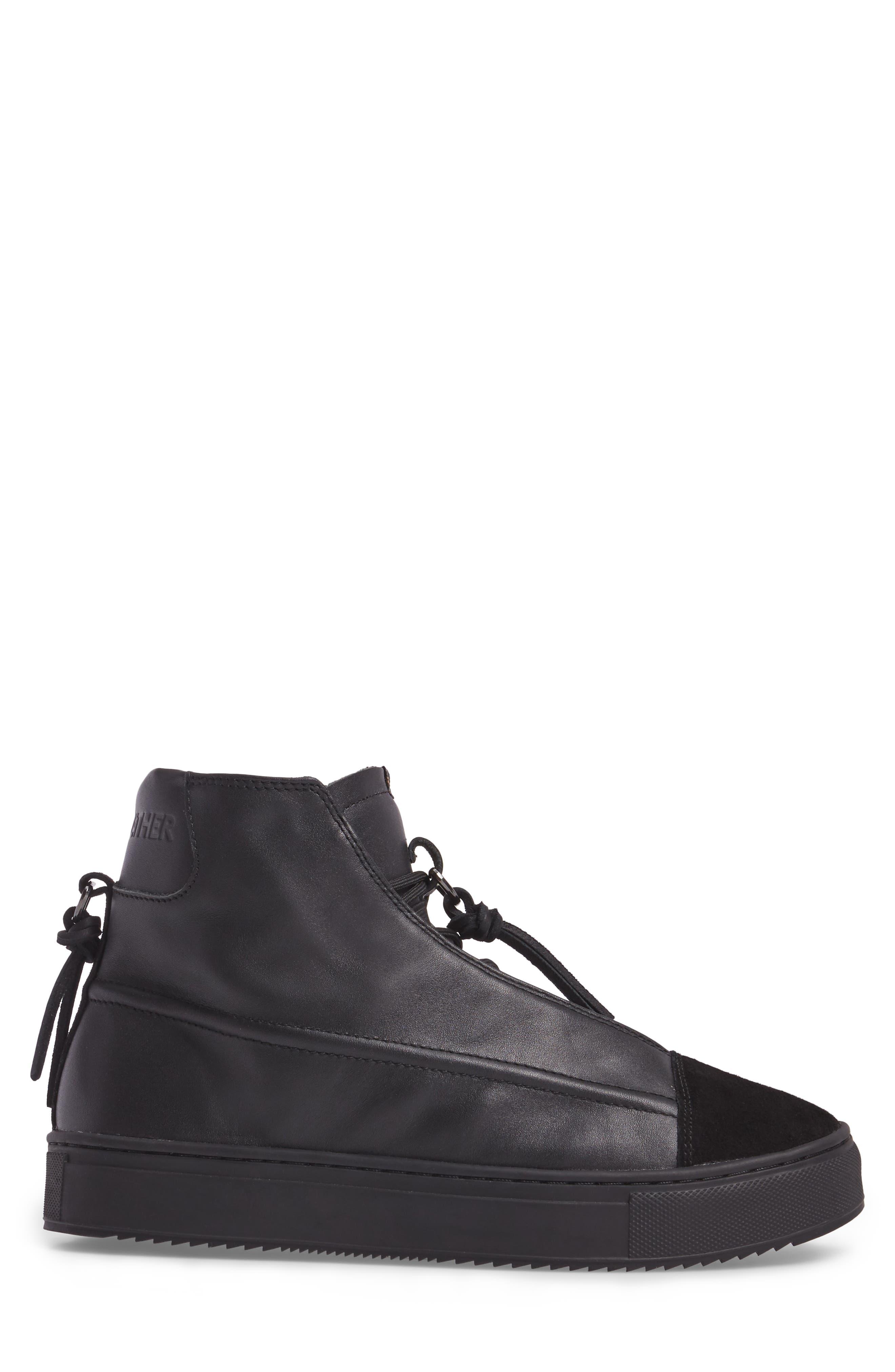 Sidney High Top Sneaker,                             Alternate thumbnail 3, color,                             Black