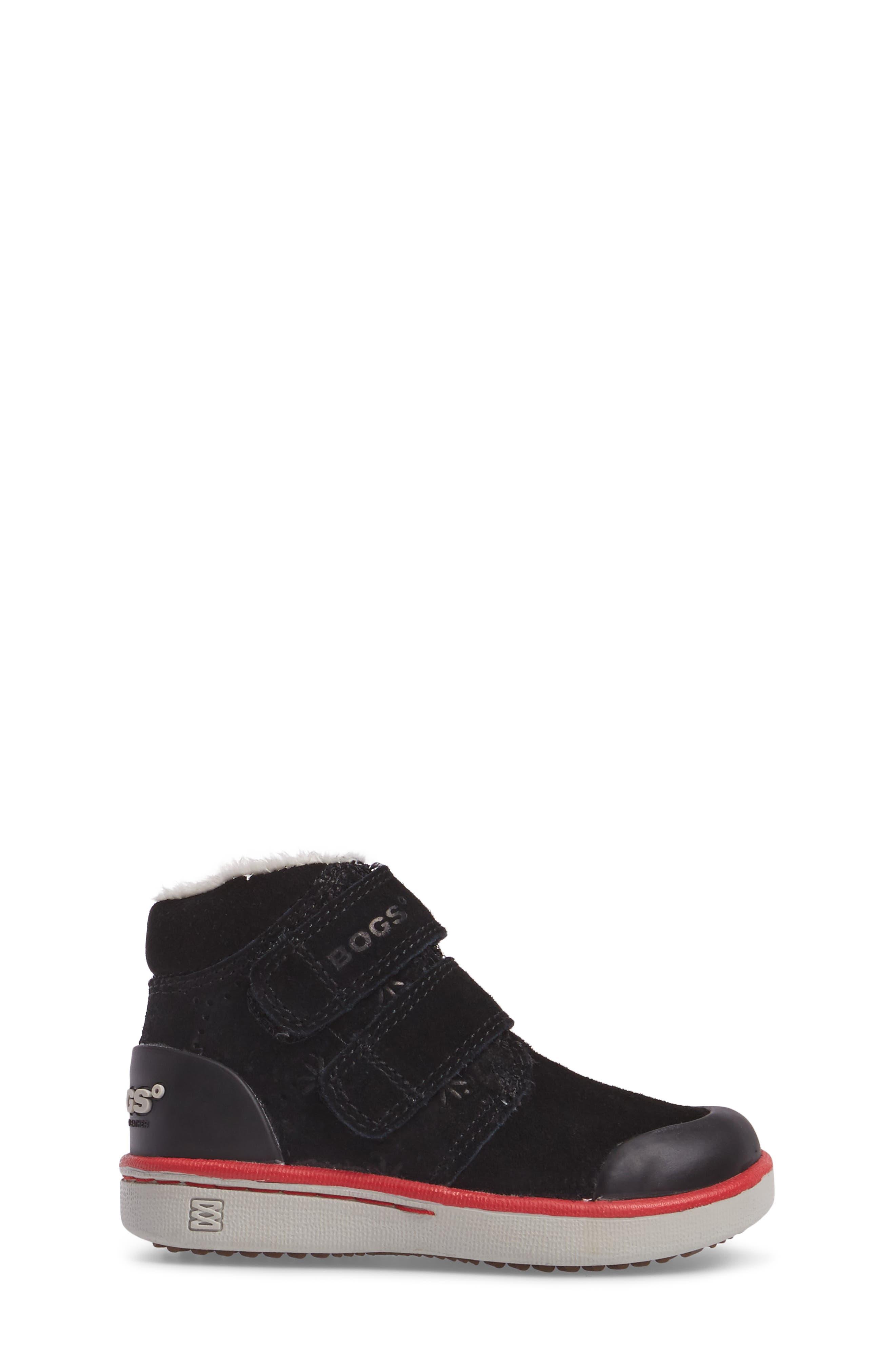 Samantha Faux Fur Waterproof Boot,                             Alternate thumbnail 3, color,                             Black/ Black