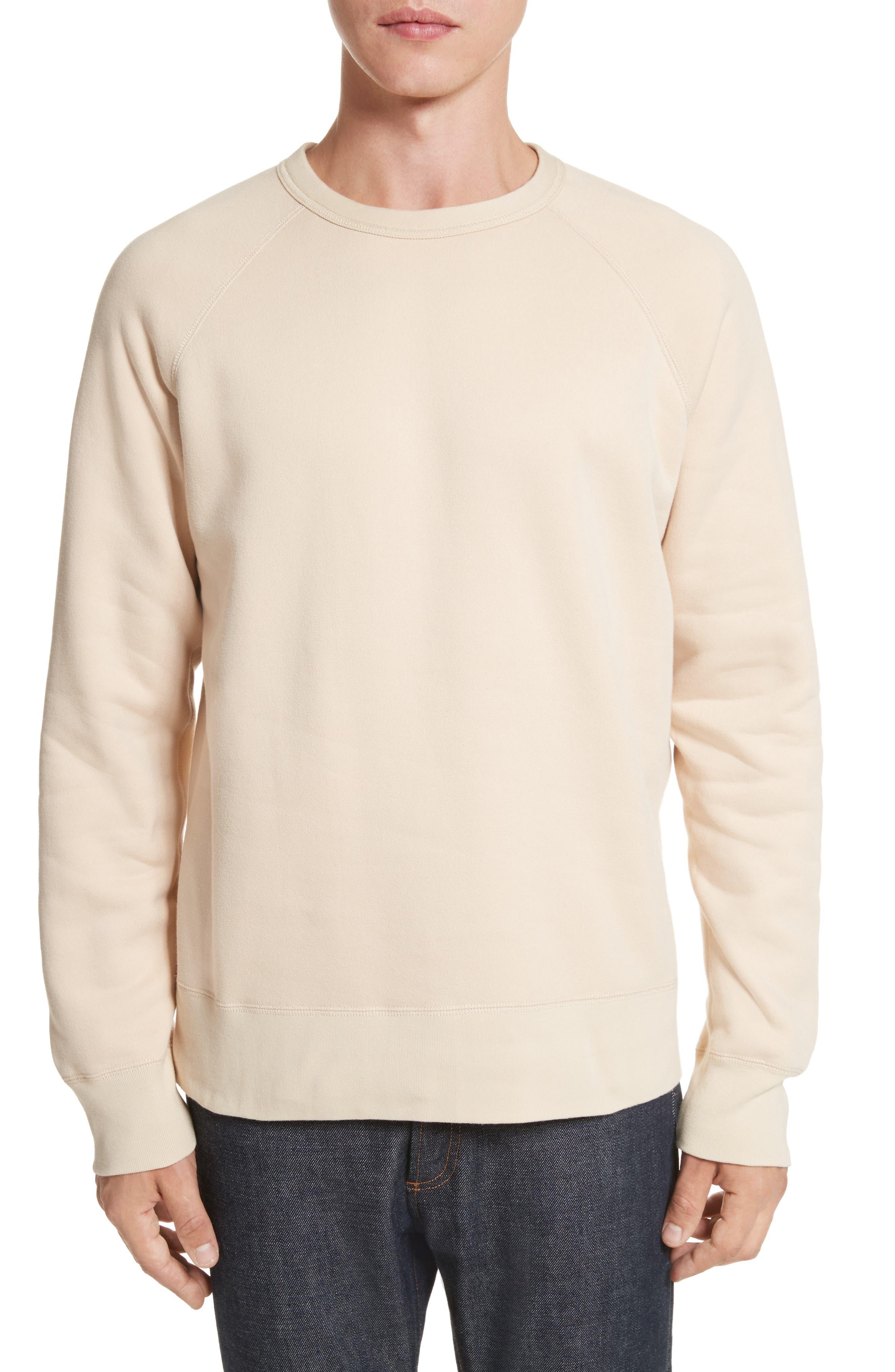 Reversible Raglan Crewneck Sweatshirt,                         Main,                         color, Beige