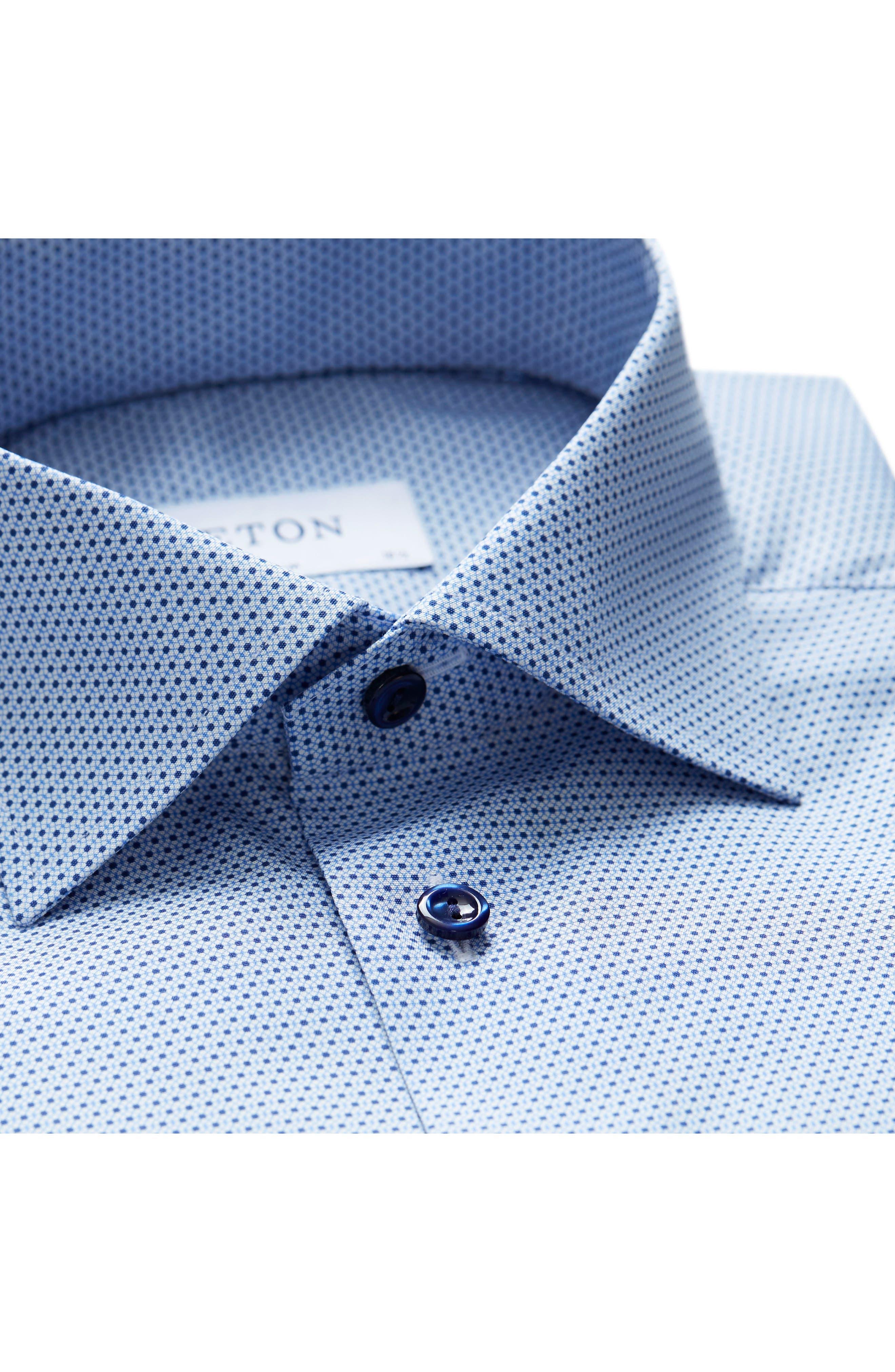 Slim Fit Microprint Dress Shirt,                             Alternate thumbnail 5, color,                             Blue