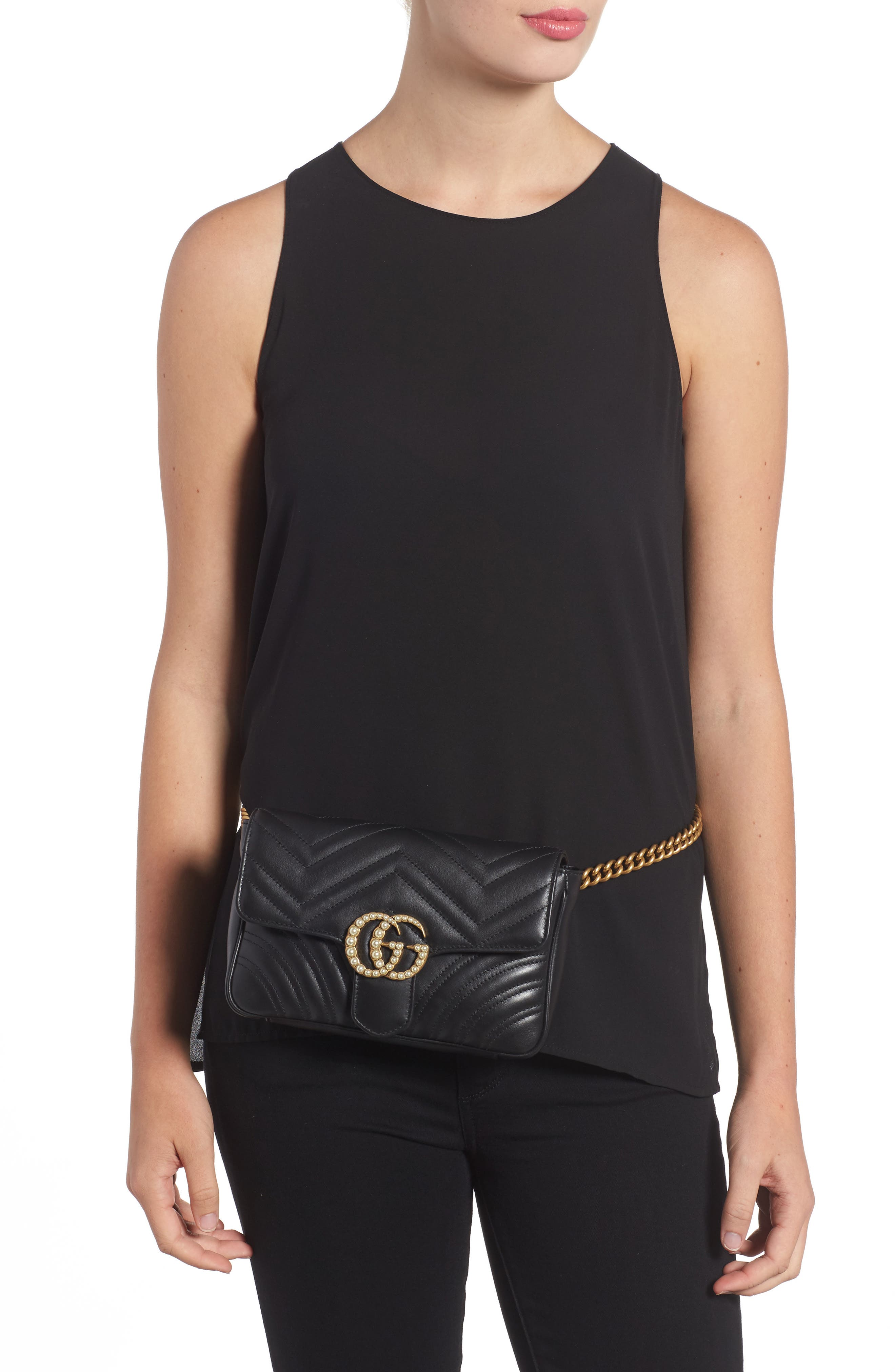 Marmont 2.0 Imitation Pearl Logo Quilted Leather Belt Bag,                             Alternate thumbnail 2, color,                             Nero Black