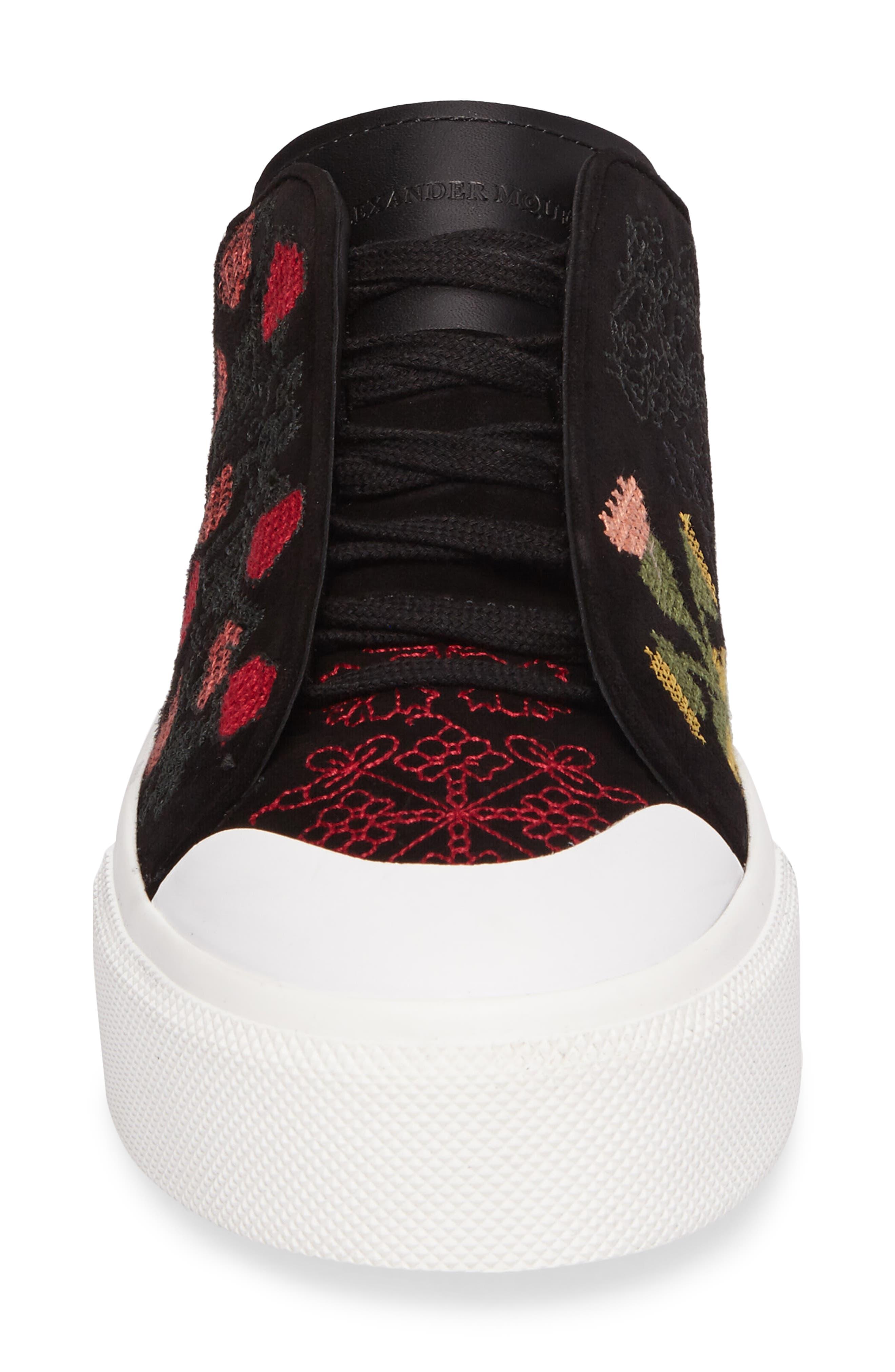 Cap Toe Platform Sneaker,                             Alternate thumbnail 4, color,                             Black/ Red