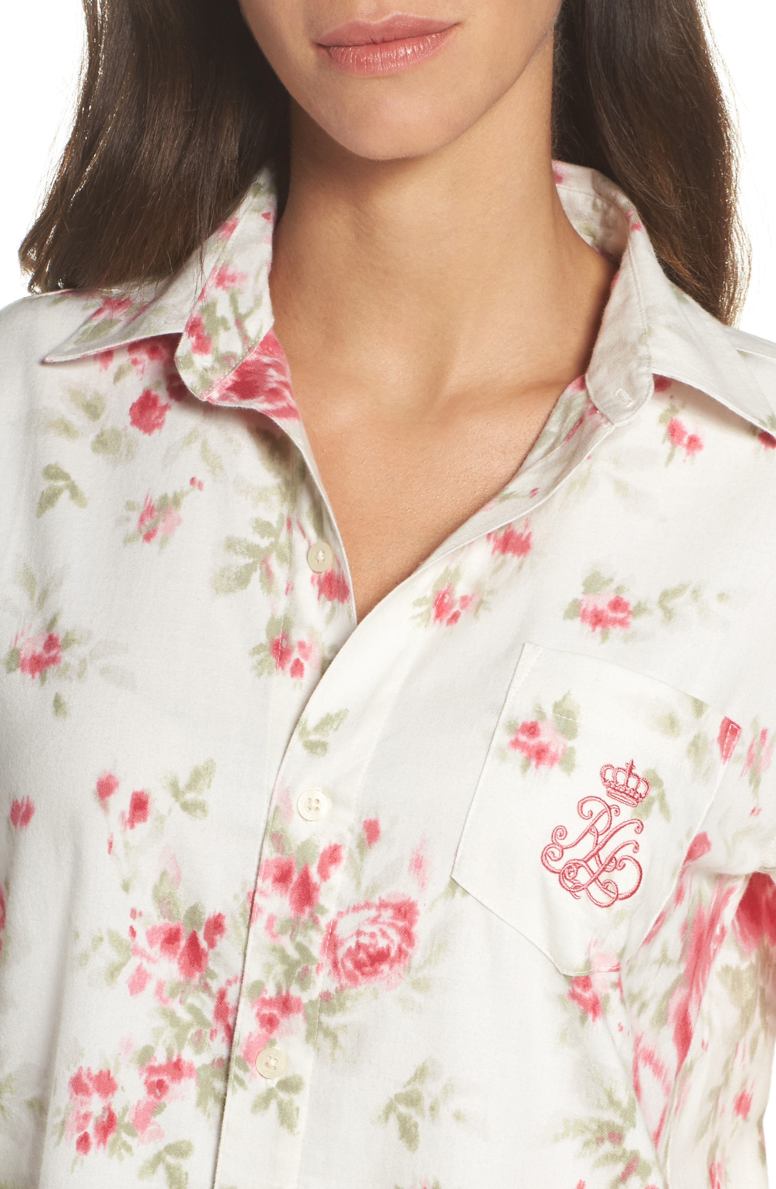 Alternate Image 5  - Lauren Ralph Lauren Flannel Sleep Shirt