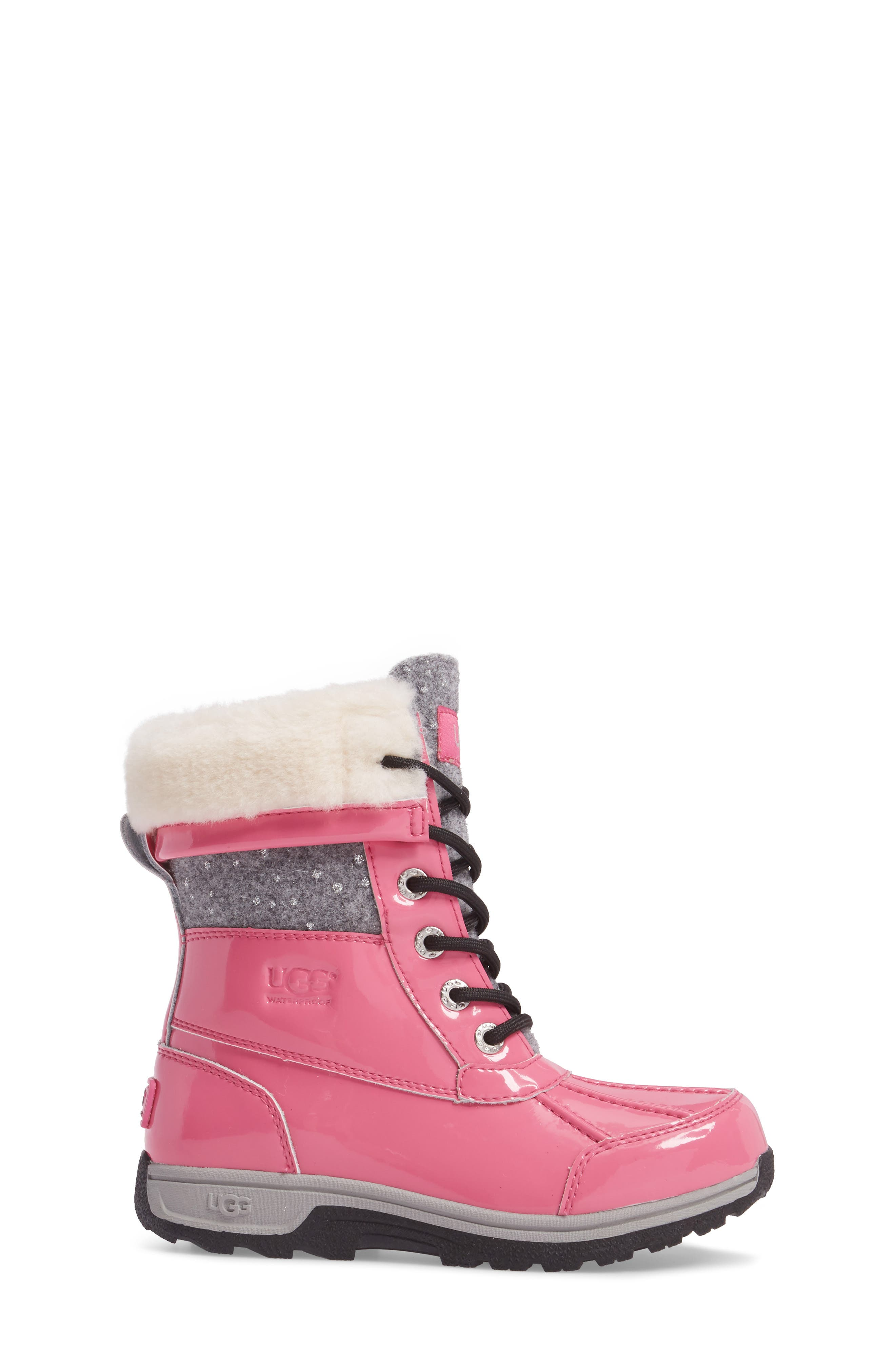 Butte II Patent Sparkle Waterproof Boot,                             Alternate thumbnail 3, color,                             Pink Azalea