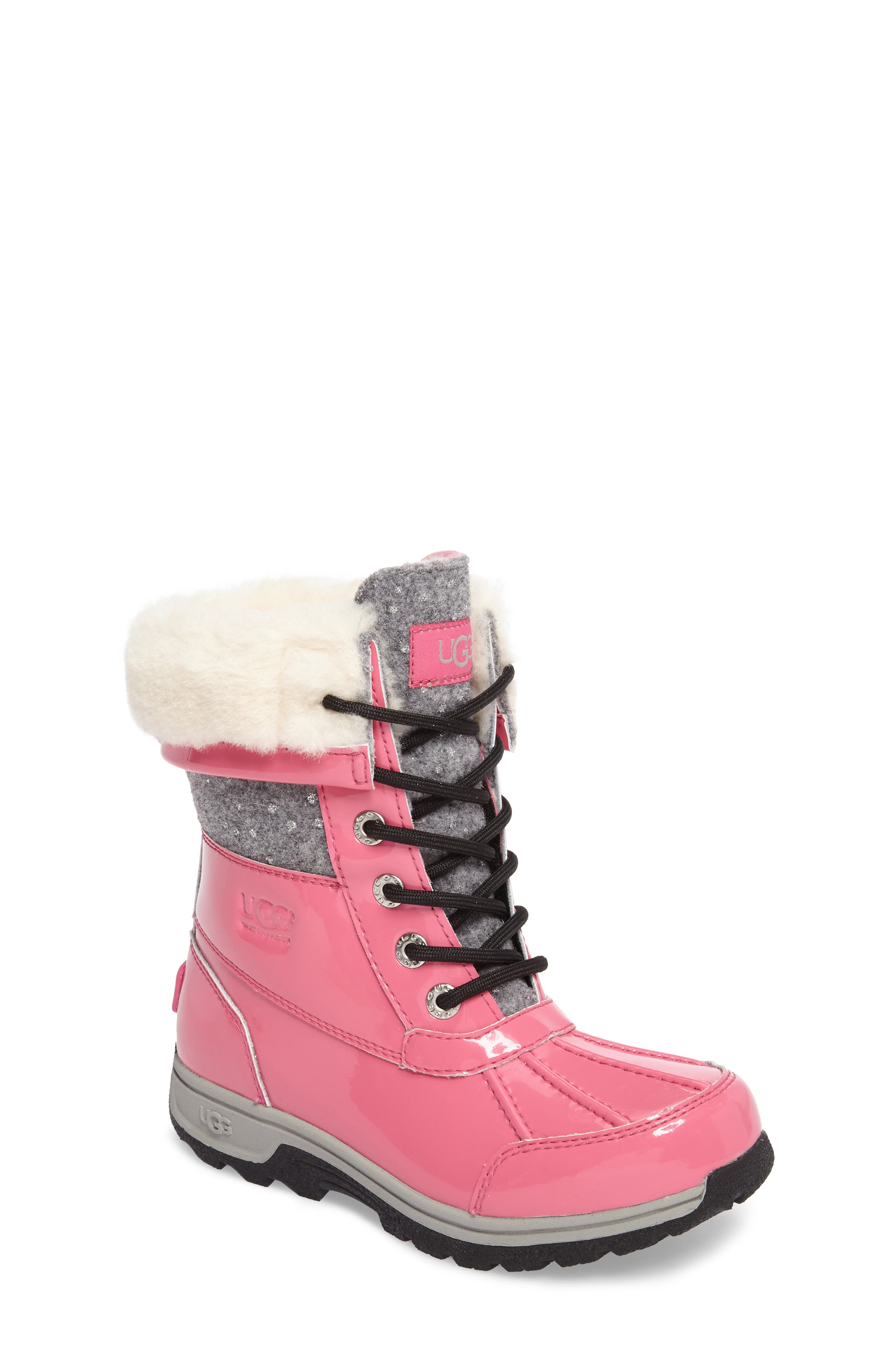 Butte II Patent Sparkle Waterproof Boot,                         Main,                         color, Pink Azalea