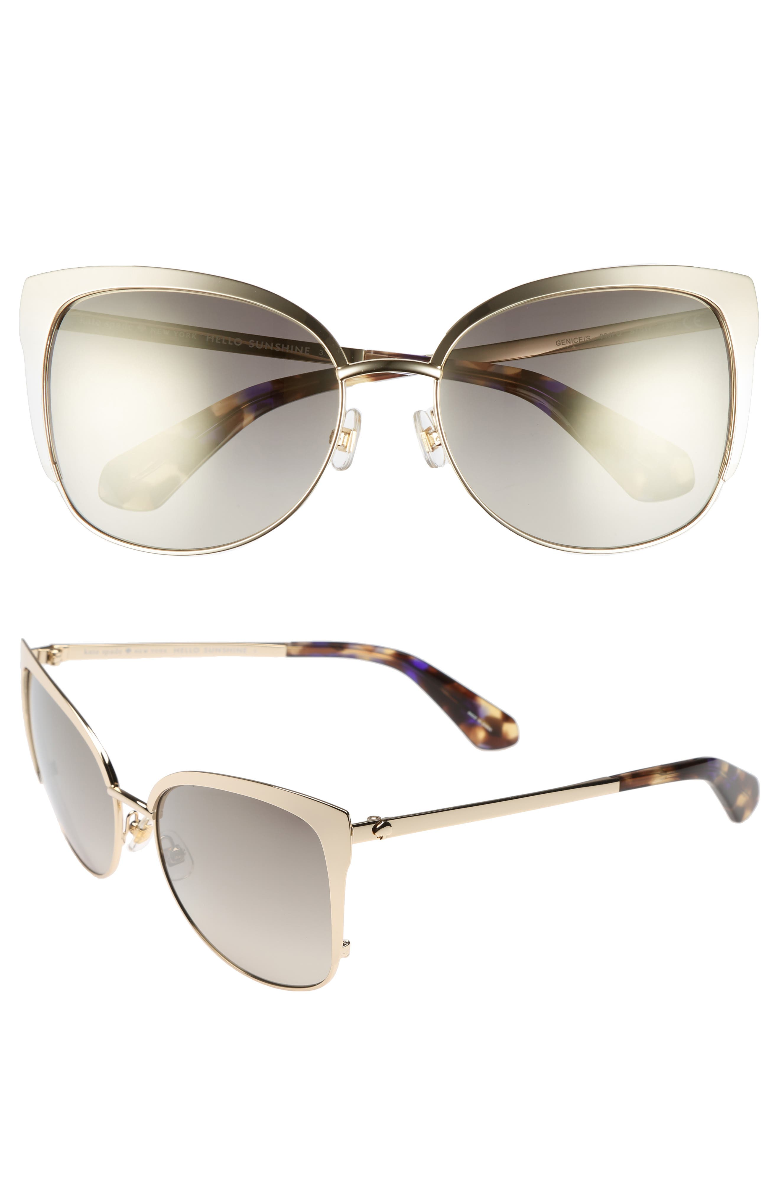'genice' 57mm cat-eye sunglasses,                             Main thumbnail 1, color,                             Gold Havana