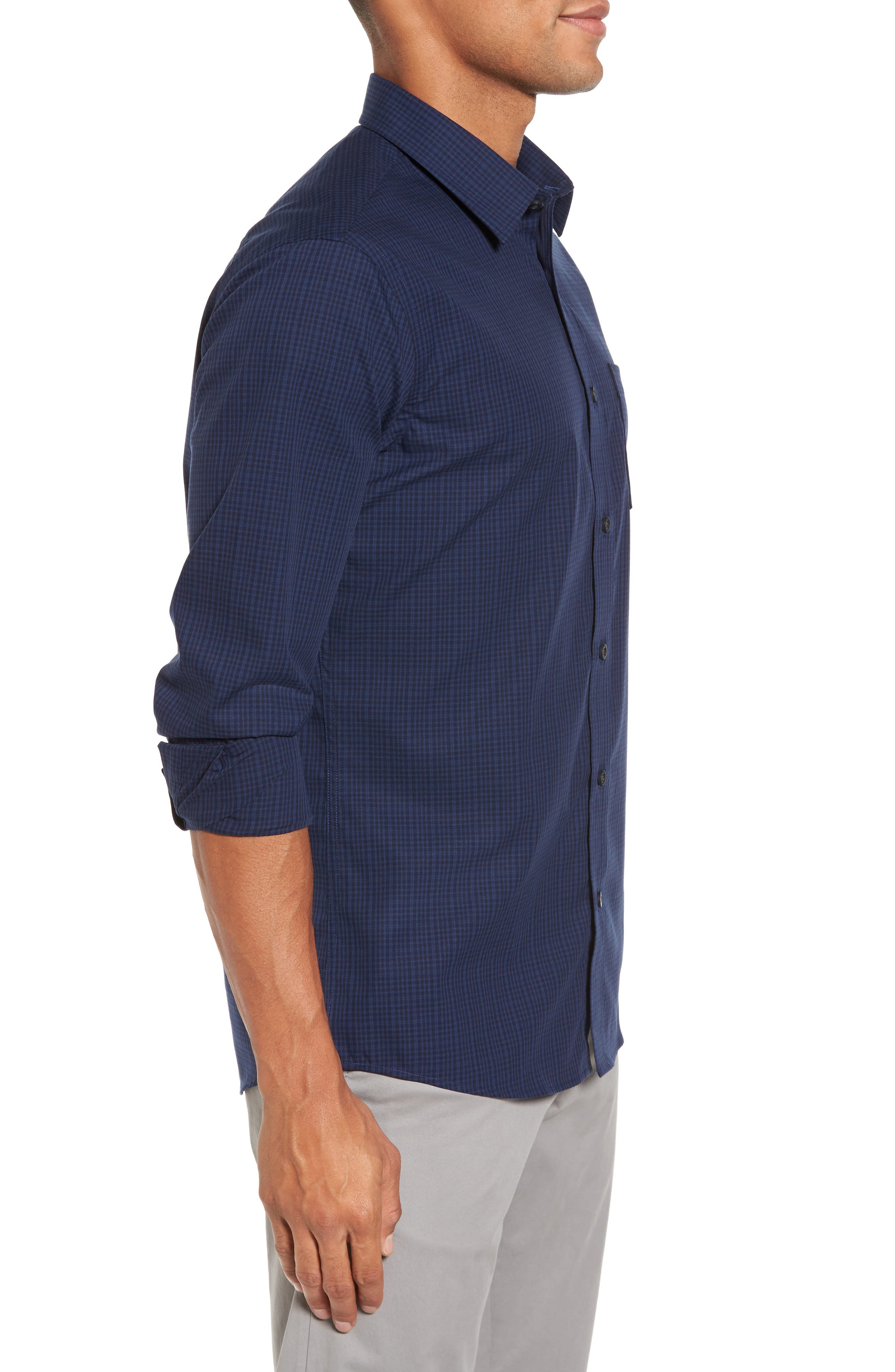 Trim Fit Non-Iron Mini Check Sport Shirt,                             Alternate thumbnail 3, color,                             Navy Iris Blue Mini Check