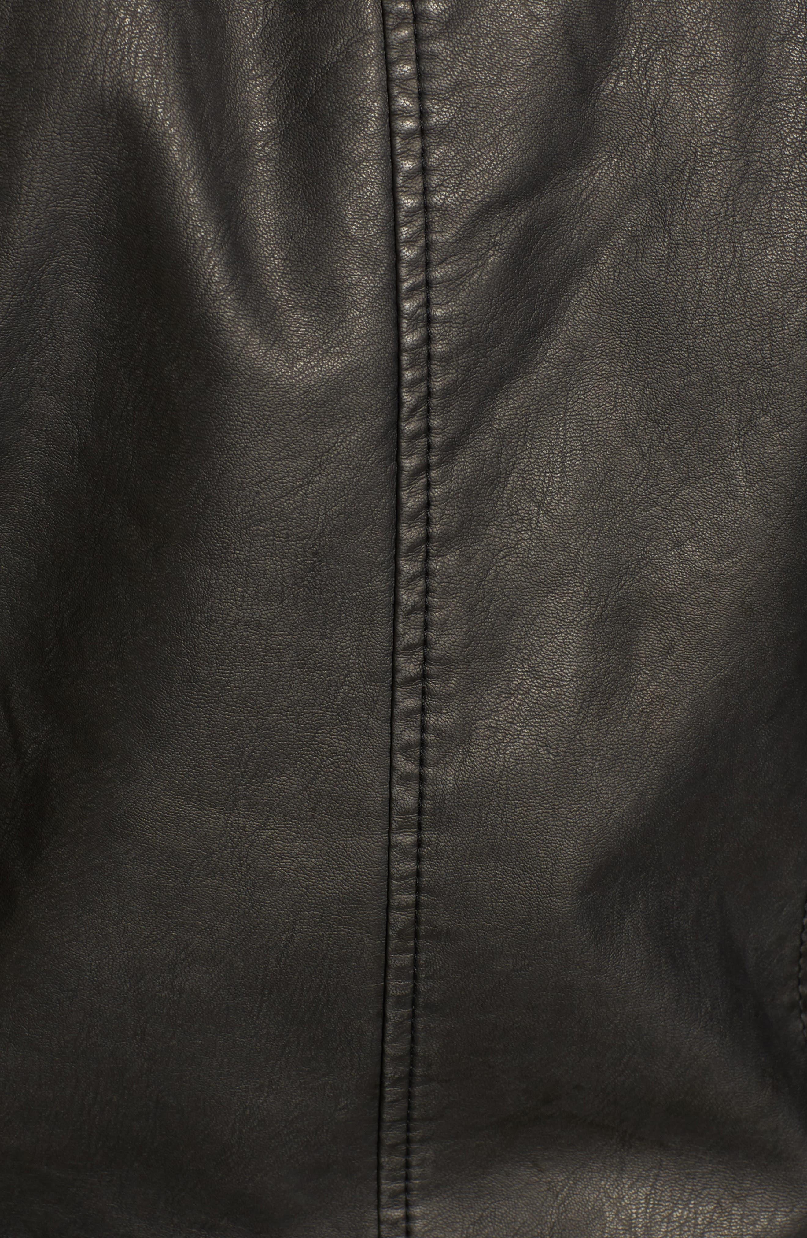 Faux Leather Jacket,                             Alternate thumbnail 4, color,                             Grey