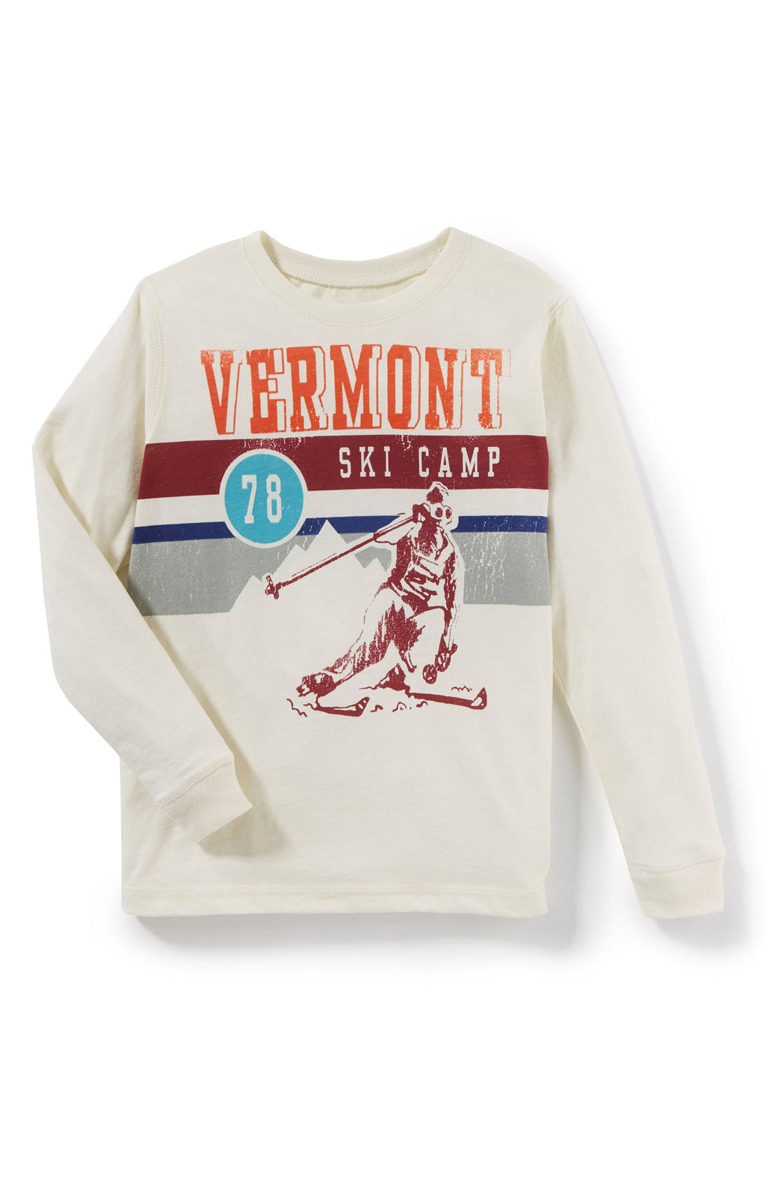 Vermont Ski Camp Graphic Long Sleeve T-Shirt,                         Main,                         color, Ivory