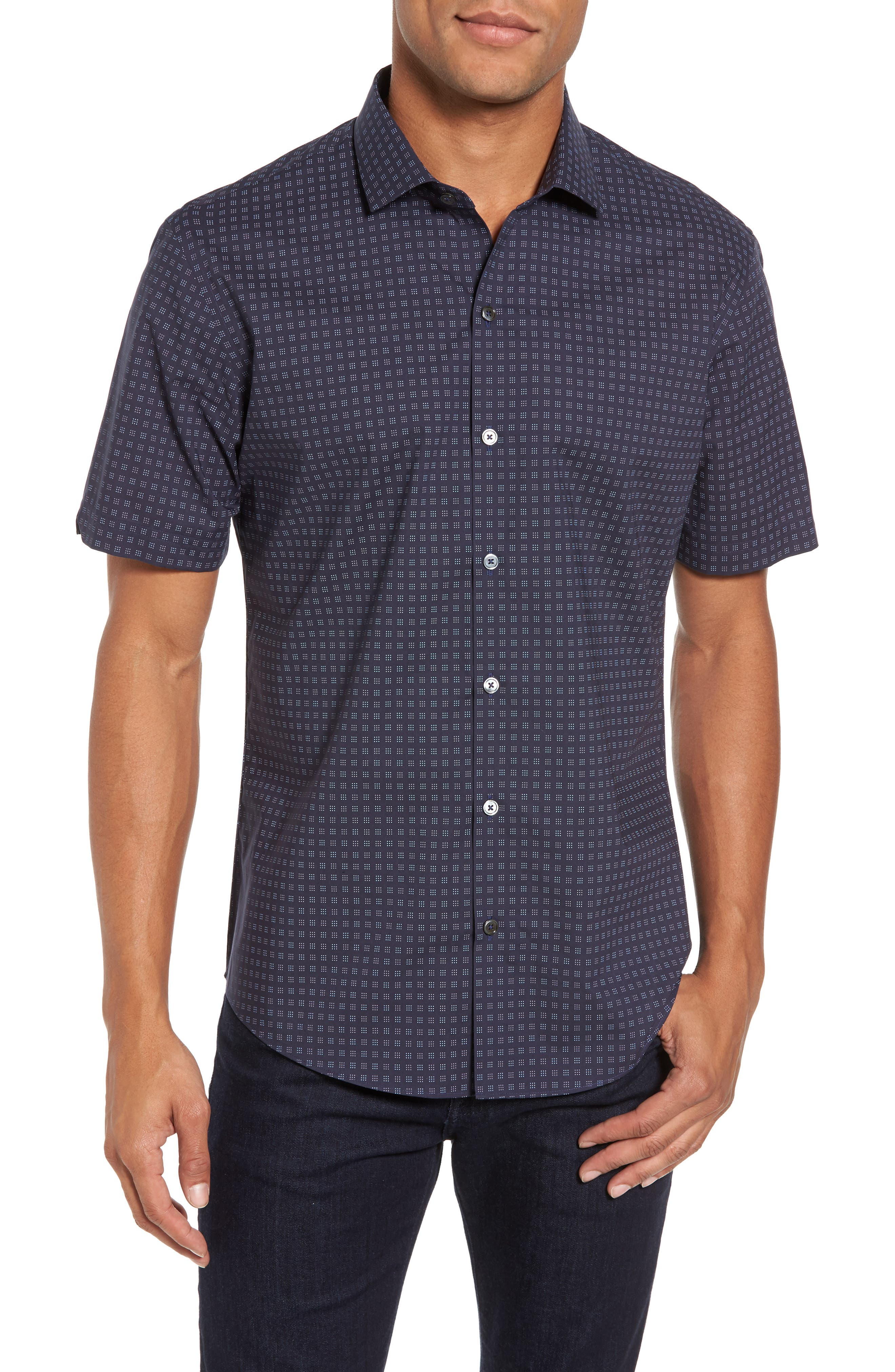 Tennant Slim Fit Dot Print Sport Shirt,                         Main,                         color, Navy