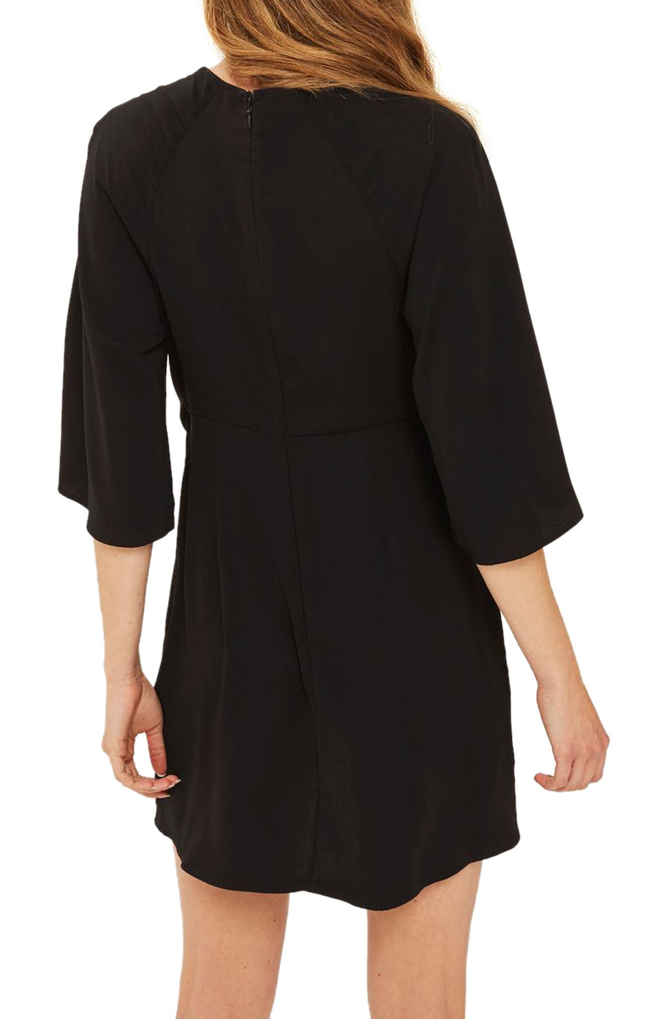 Tie Front Minidress,                             Alternate thumbnail 2, color,                             Black