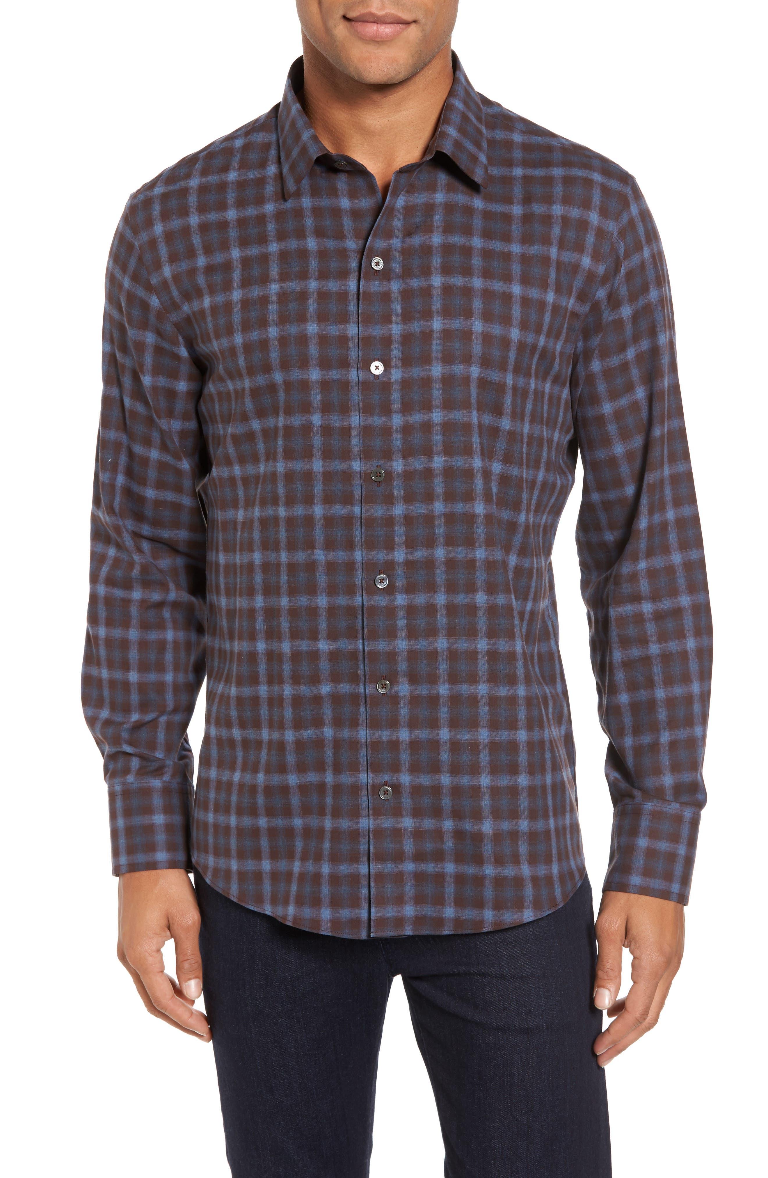 Fathollahi Slim Fit Plaid Sport Shirt,                         Main,                         color, Brown