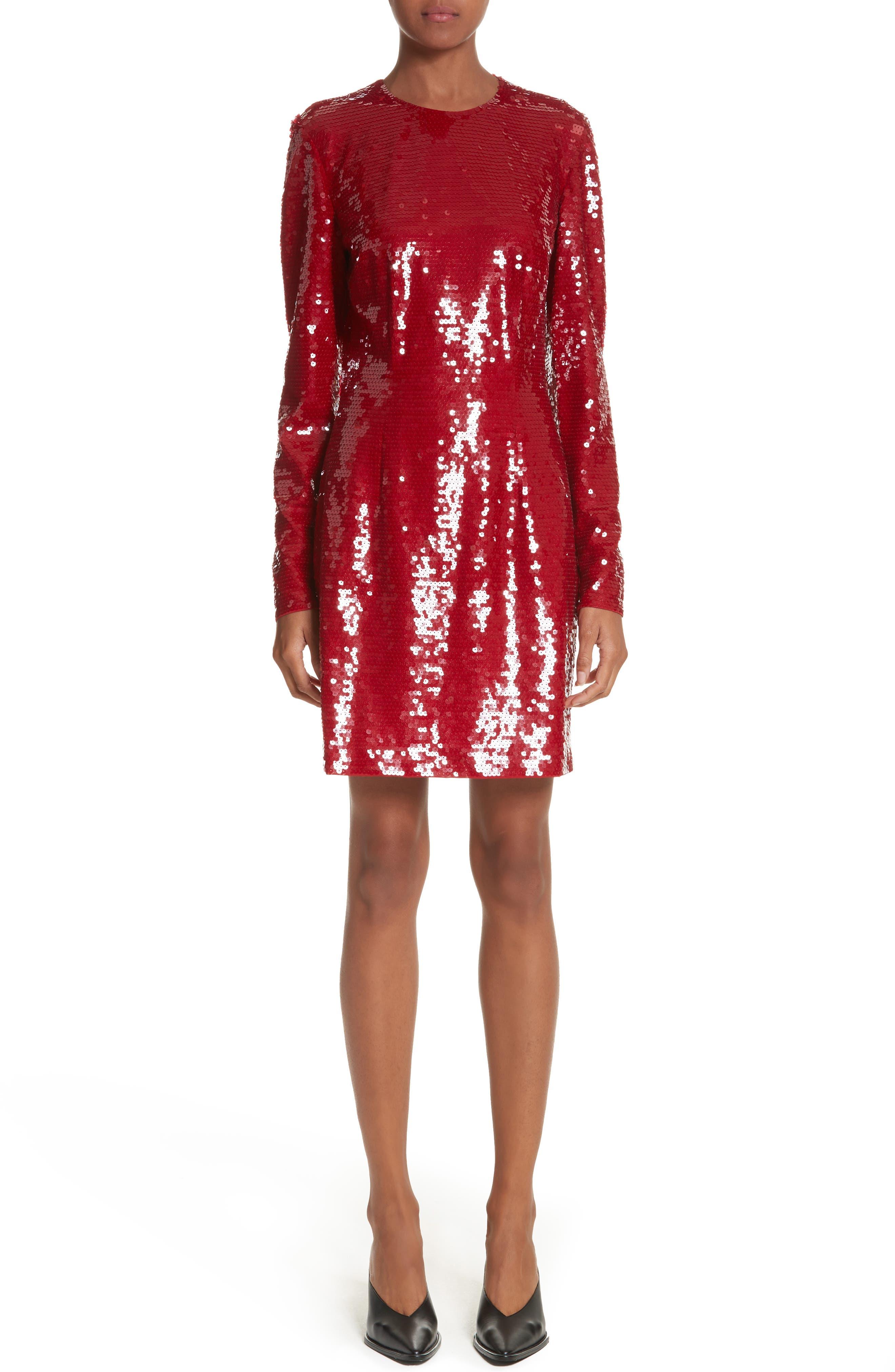 Katie Sequin Dress,                         Main,                         color, Crimson