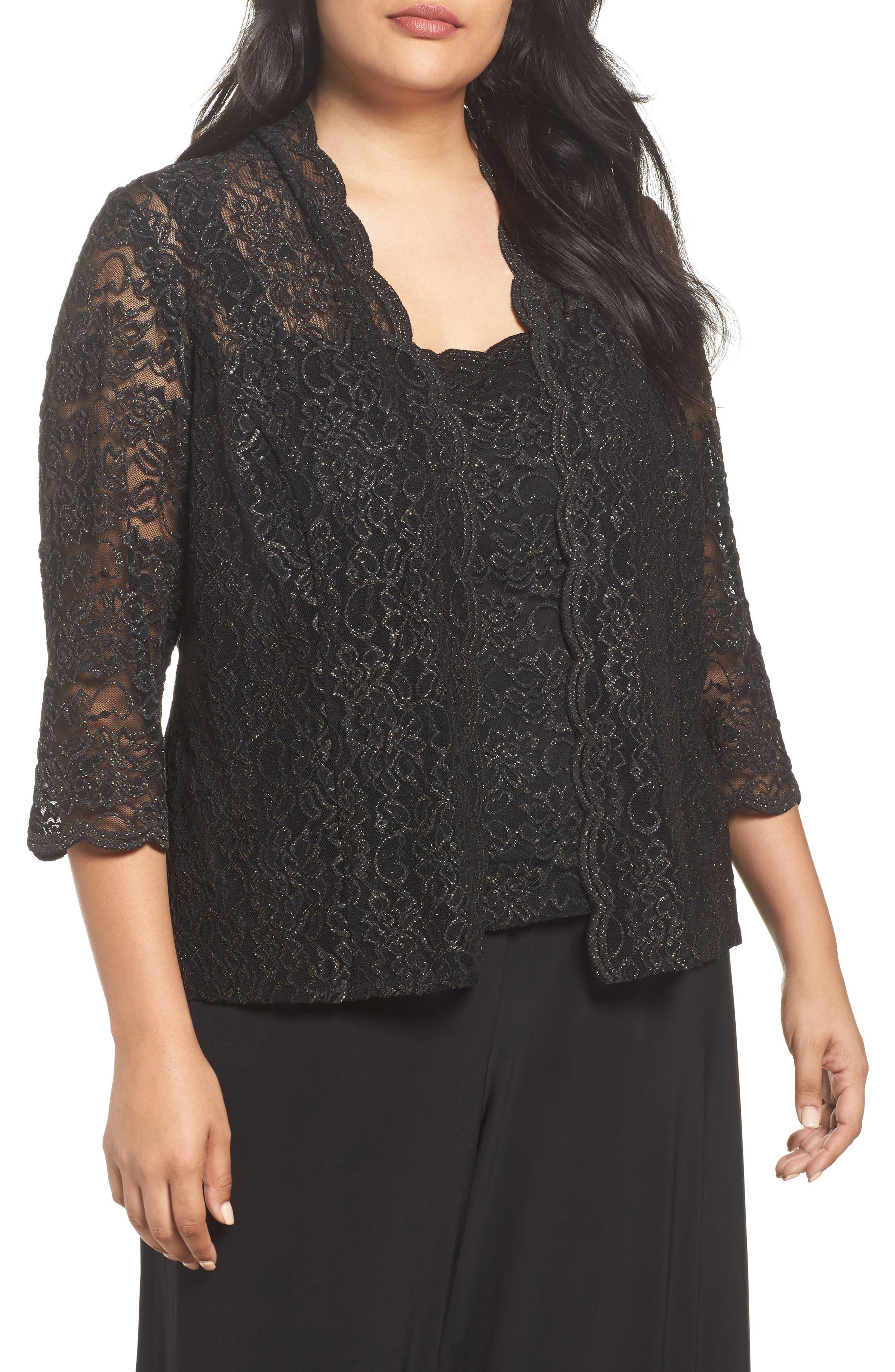 Sequin Lace Twinset,                         Main,                         color, Black/ Gold