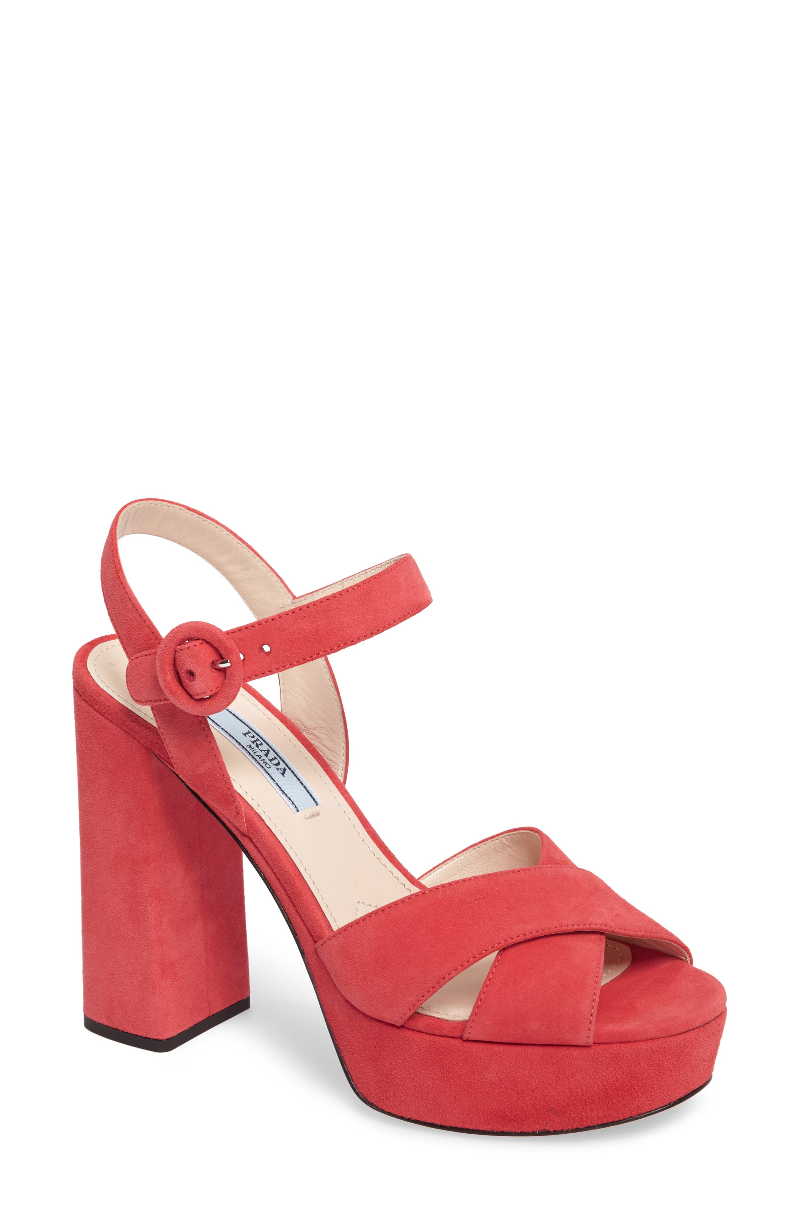Block Heel Platform Sandal,                             Main thumbnail 1, color,                             Corallo