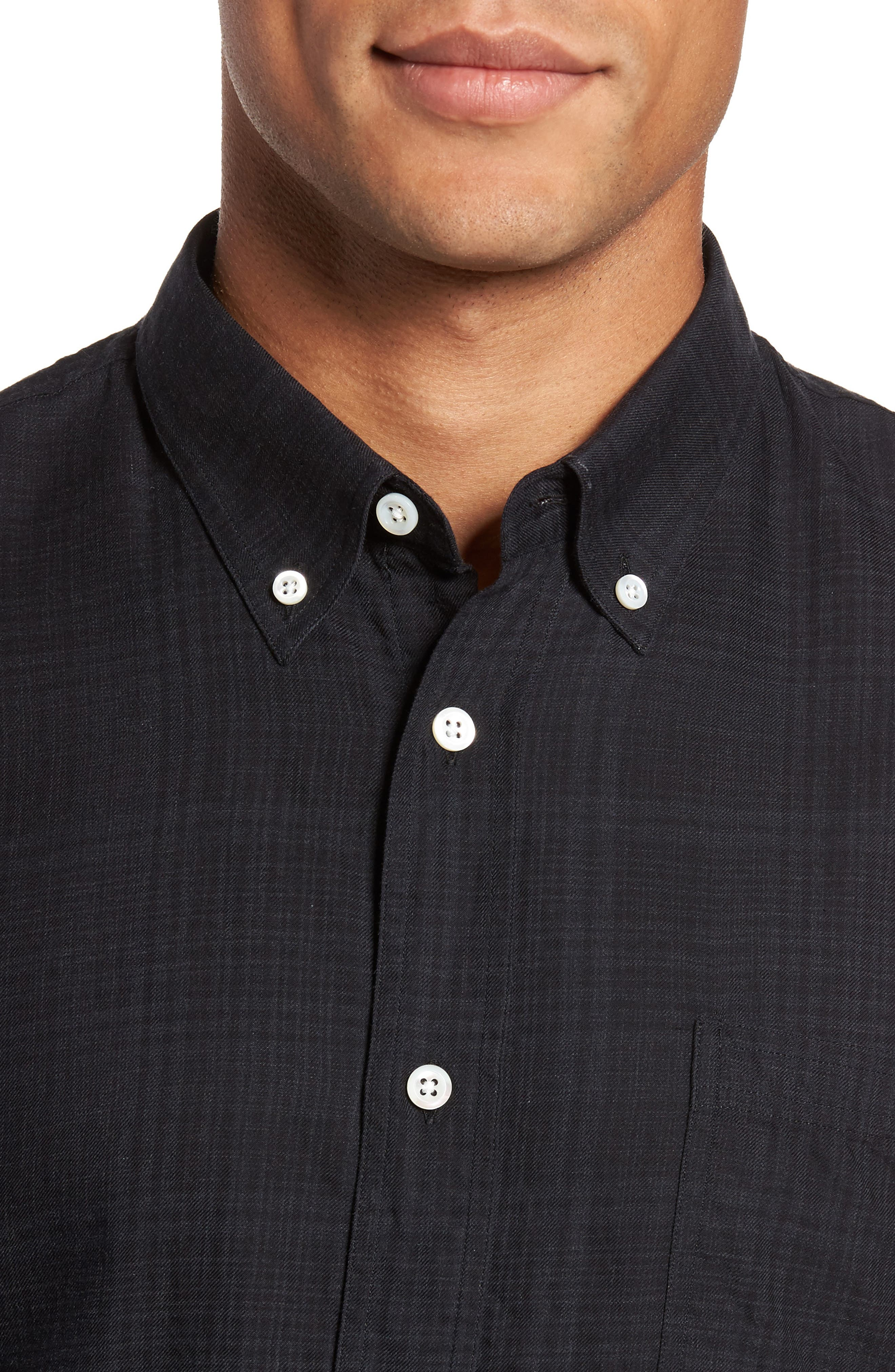 Rosedale Slim Fit Plaid Sport Shirt,                             Alternate thumbnail 4, color,                             Charcoal