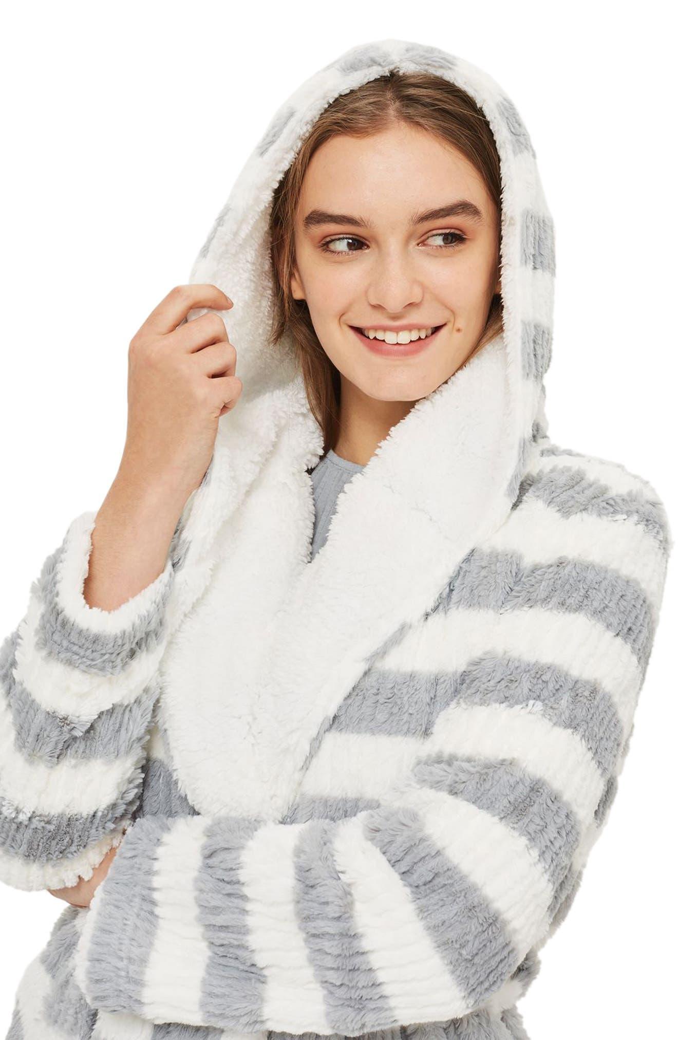 Stripe Short Robe,                             Alternate thumbnail 4, color,                             Grey Multi