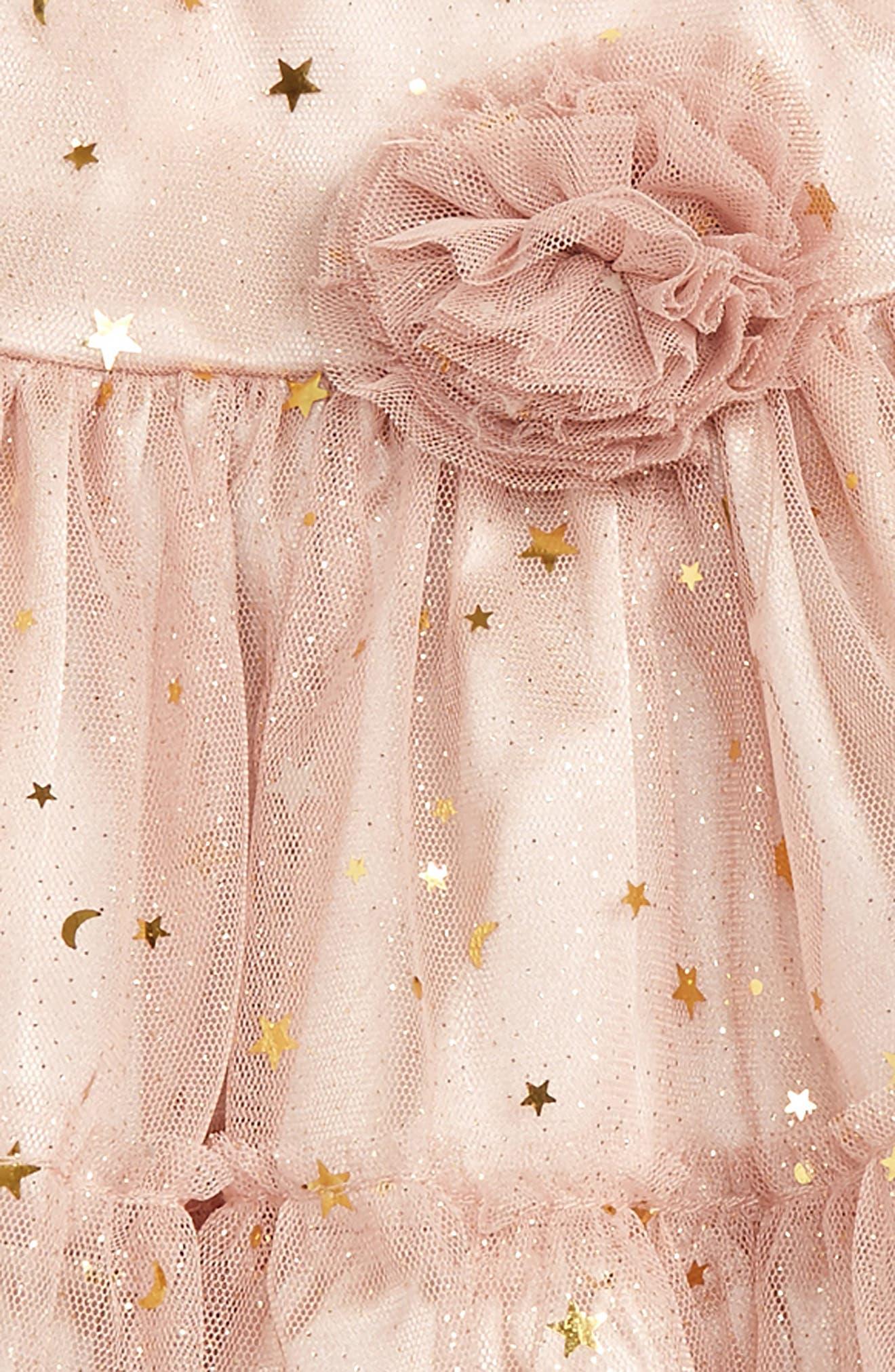 Alternate Image 2  - Frais Gold Star Dress (Baby Girls)