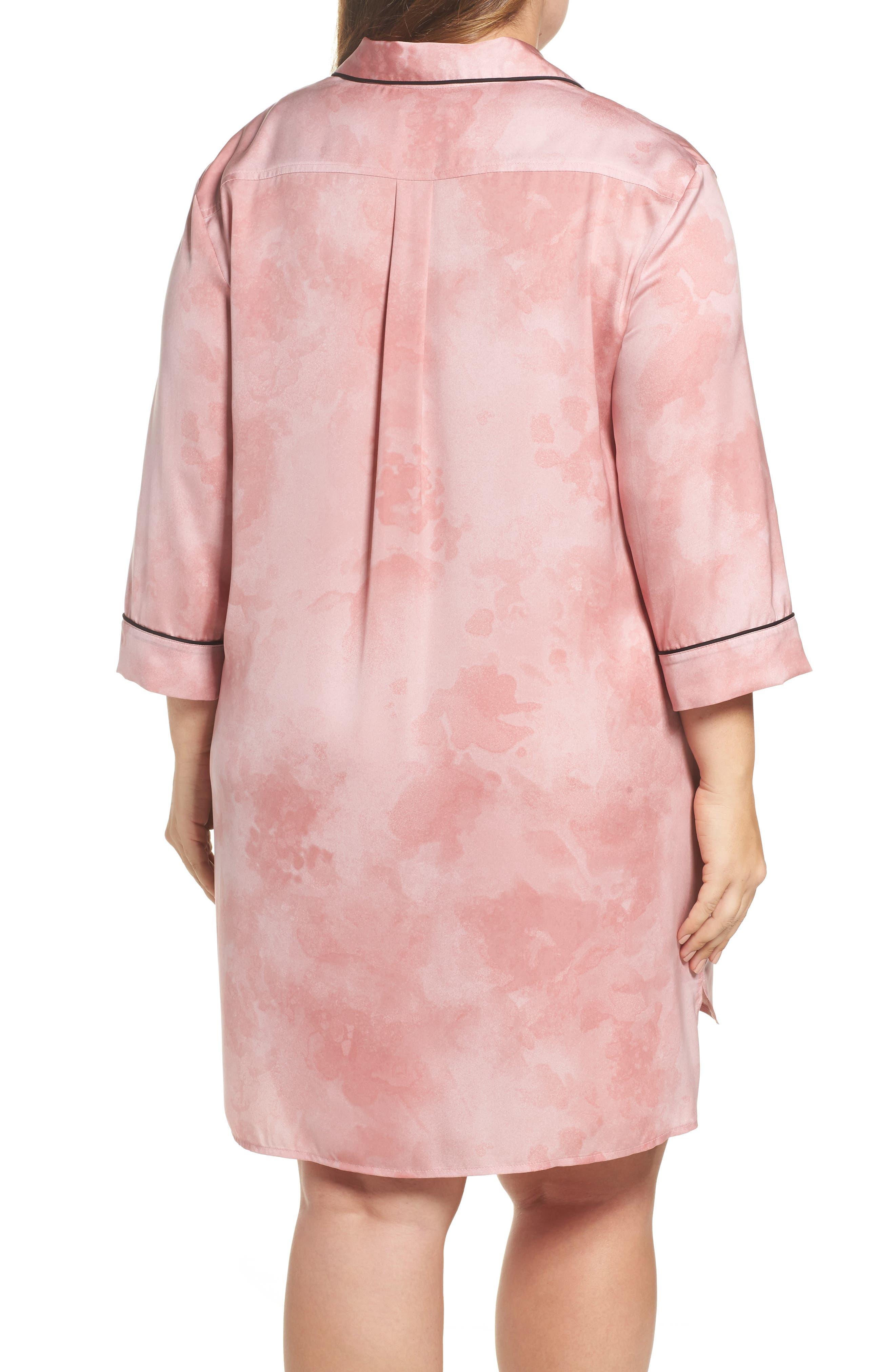 Washed Satin Sleep Shirt,                             Alternate thumbnail 2, color,                             Pink Floral