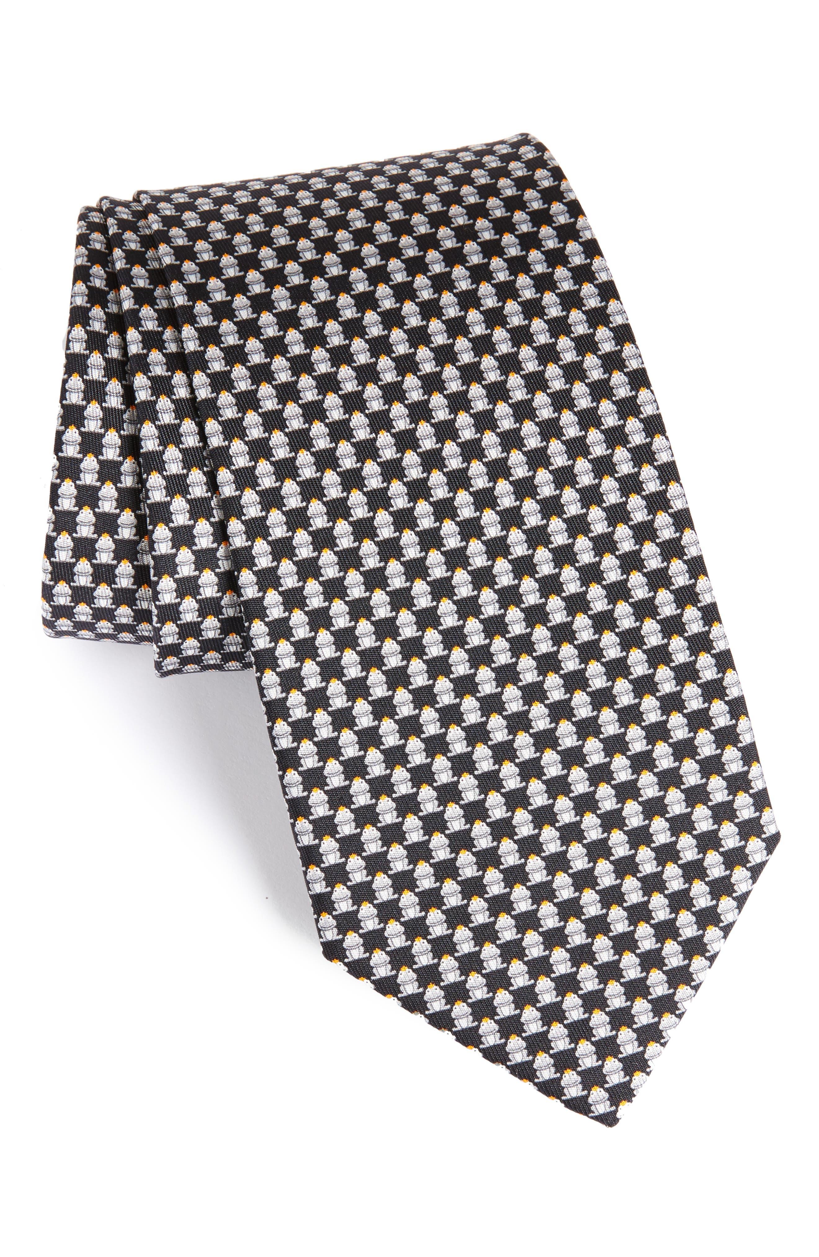 Frog Print Silk Tie,                         Main,                         color, Black