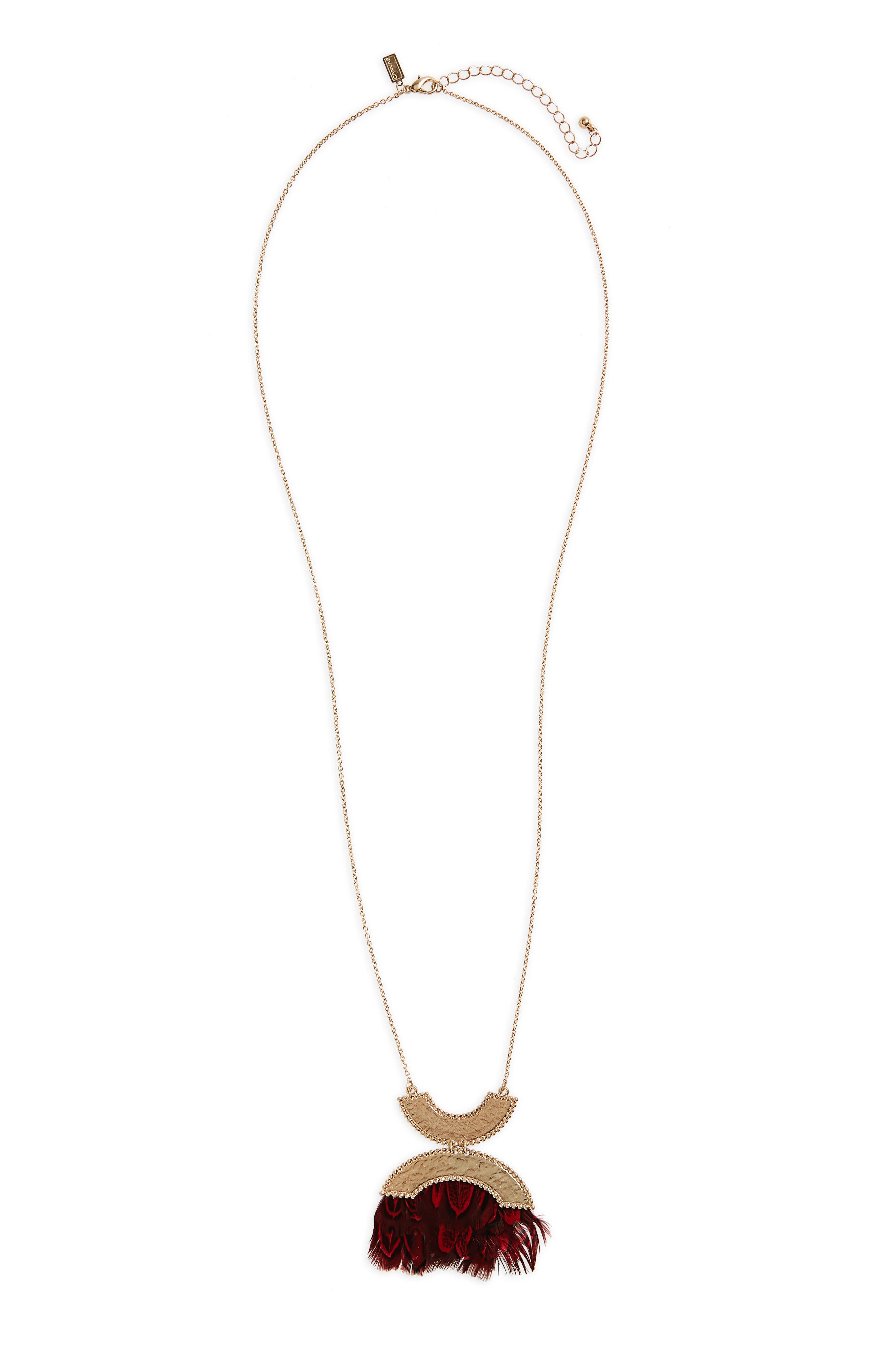 Canvas Double Crescent Pendant Necklace
