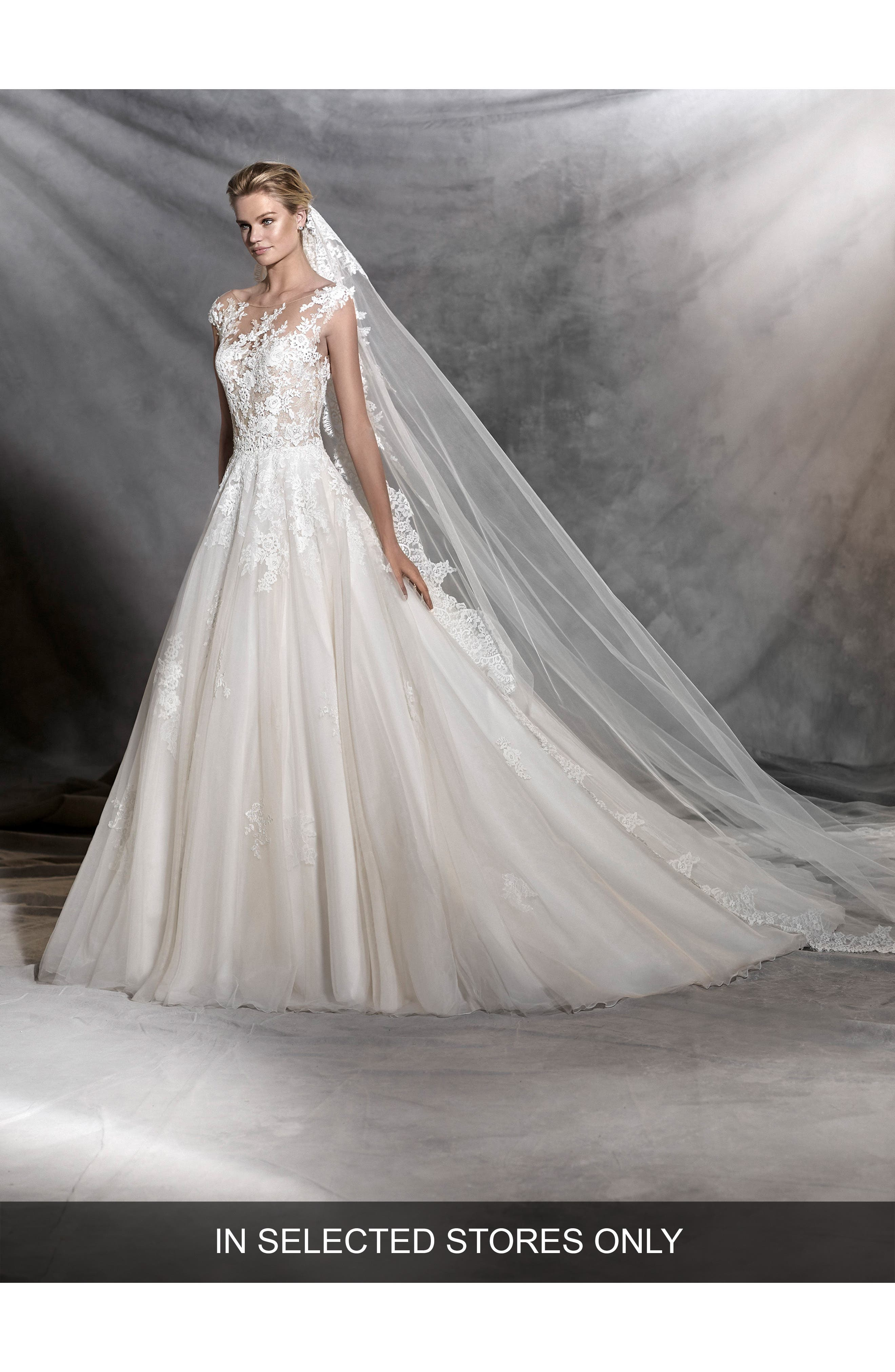 Ofelia Illusion Lace & Tulle Ballgown,                         Main,                         color, Off White