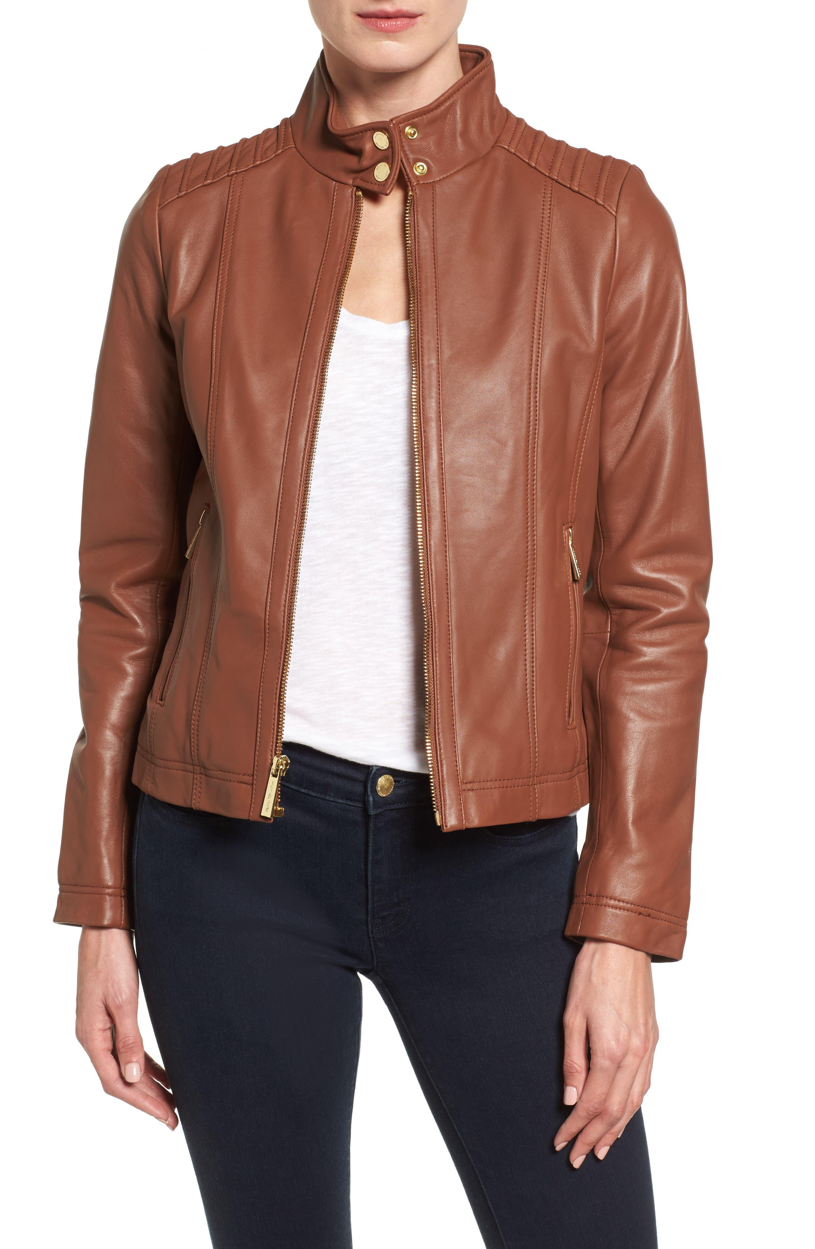 Leather Moto Jacket,                         Main,                         color, Cognac