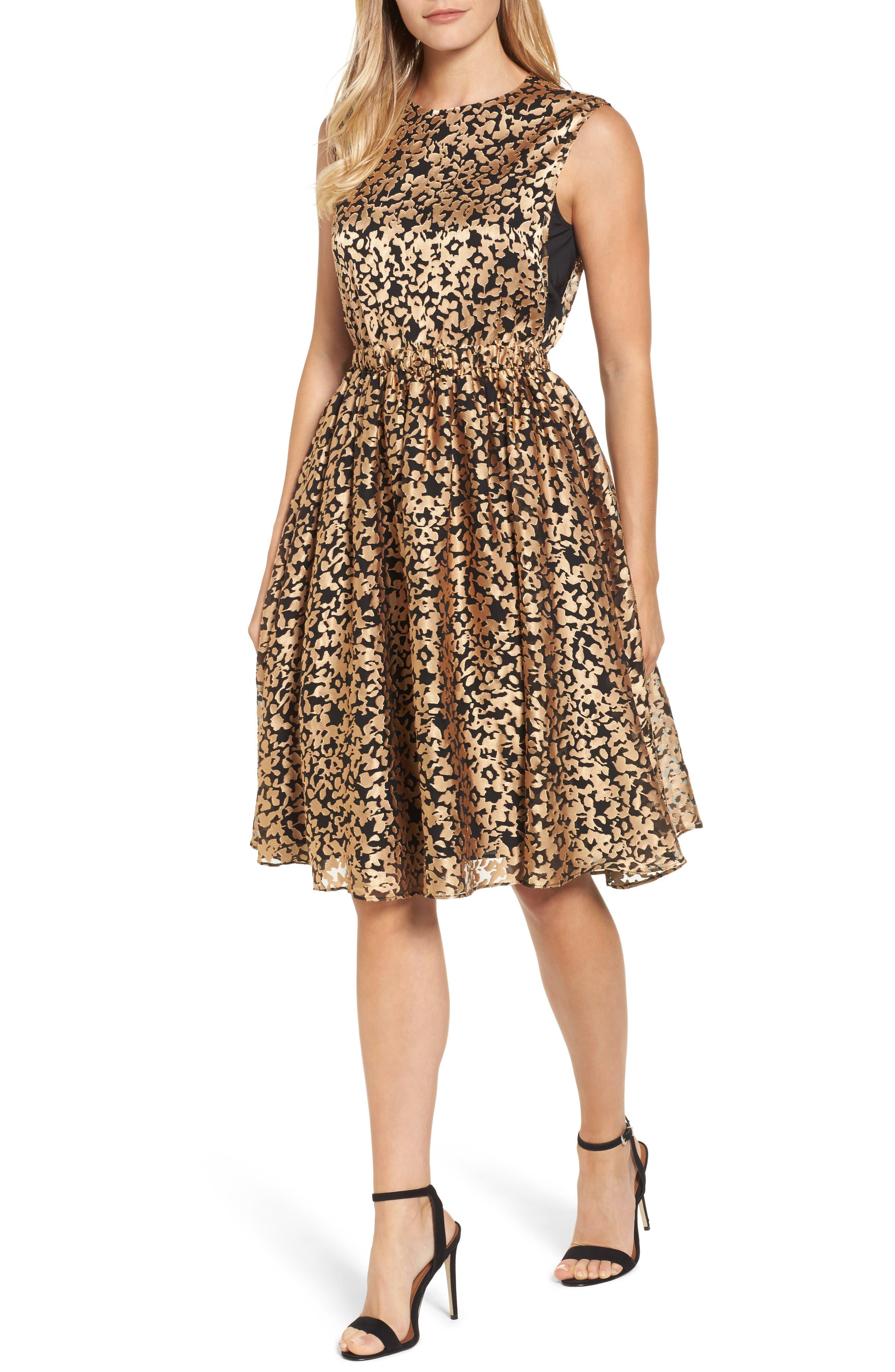 Kells Metallic Fit & Flare Dress,                             Main thumbnail 1, color,                             Gold/ Black