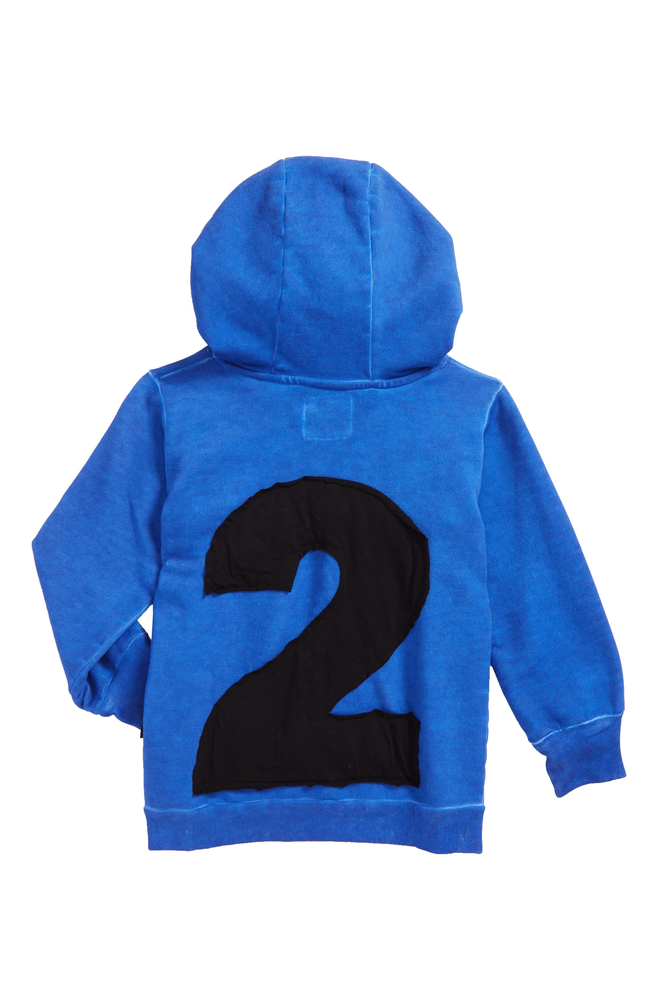 Alternate Image 2  - NUNUNU Numbered Hoodie (Toddler Boys & Little Boys)