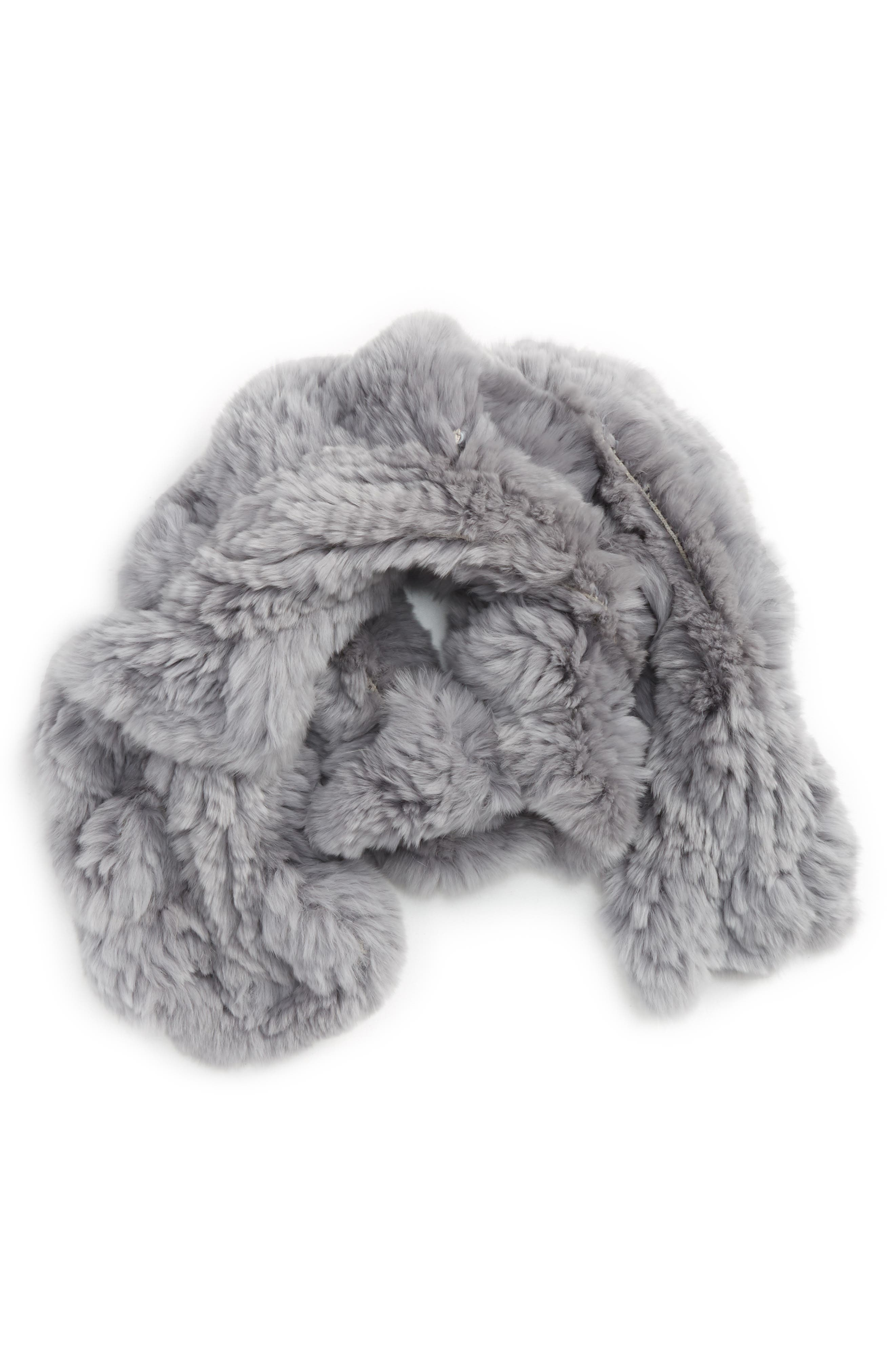 Genuine Rabbit Fur Scarf,                             Main thumbnail 1, color,                             Light Silver/ Grey