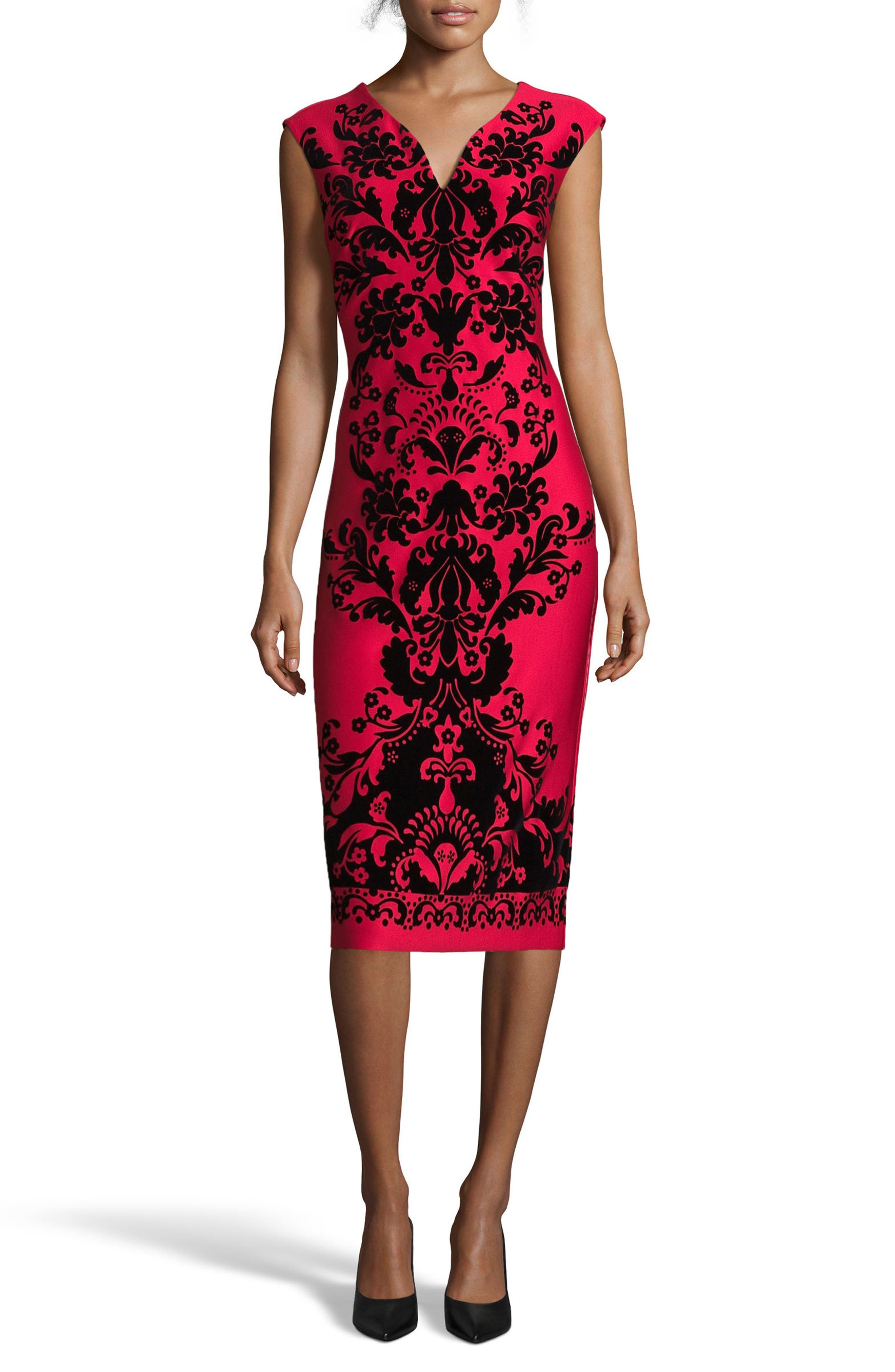 Flocked V-Neck Scuba Knit Dress,                         Main,                         color, Red