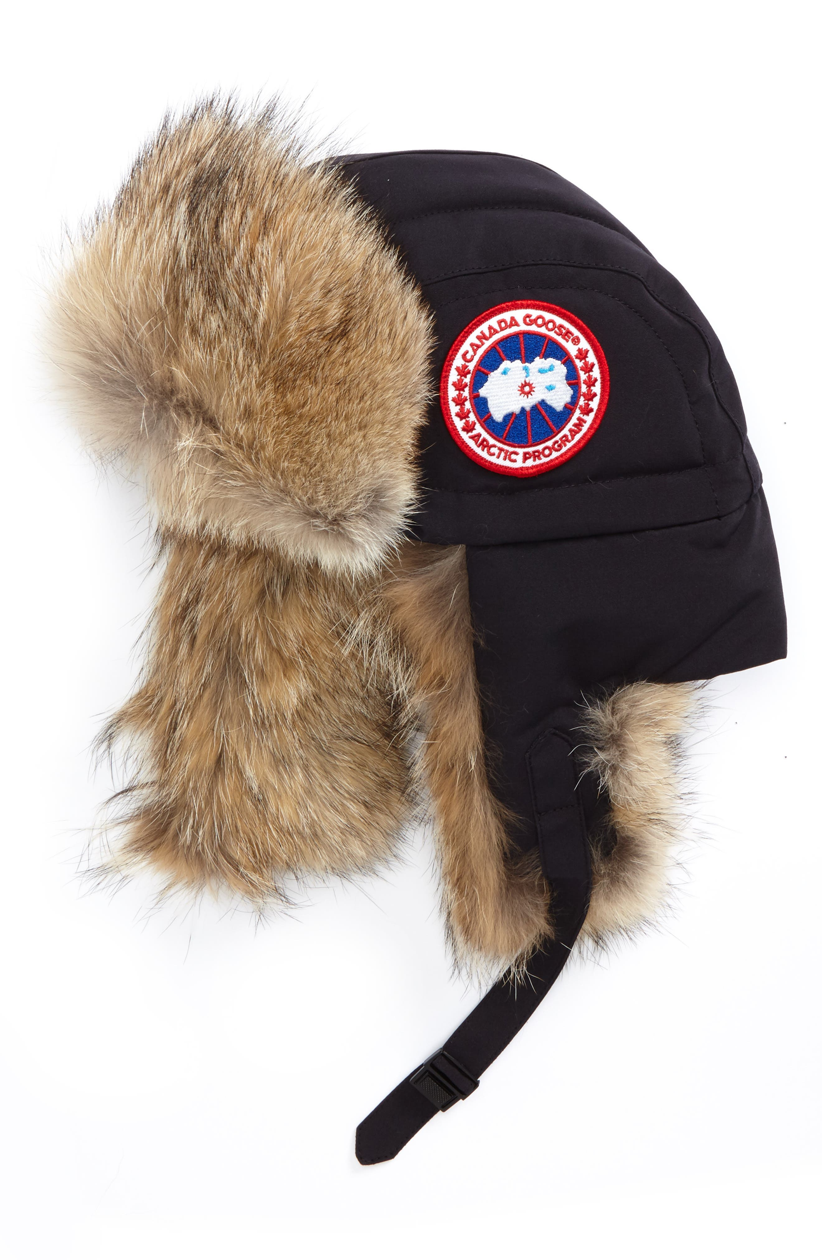 Down Fill Aviator Hat with Genuine Coyote Fur Trim,                         Main,                         color, Navy