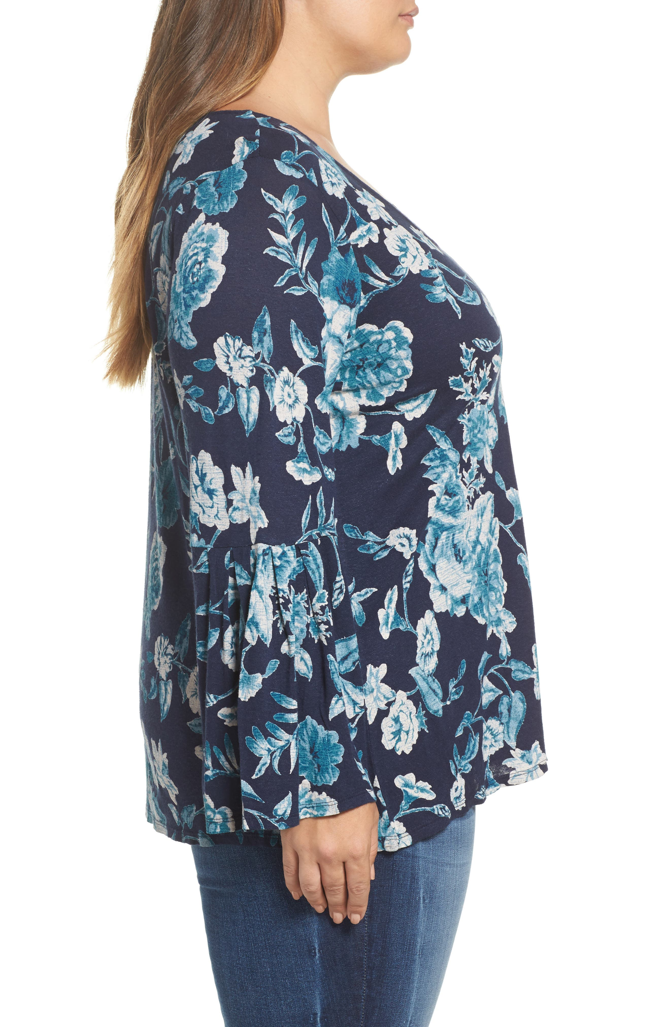 Alternate Image 3  - Lucky Brand Encinitas Bell Sleeve Floral Top (Plus Size)