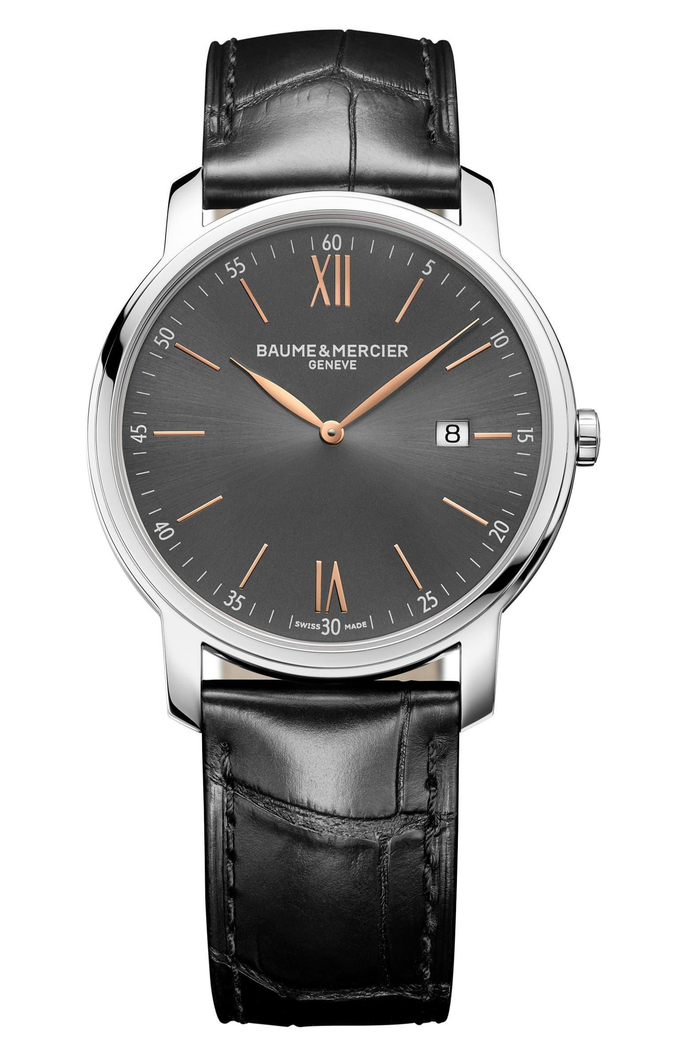 Baume & Mercier Classima Leather Strap Watch, 42mm,                         Main,                         color, Grey/ Black