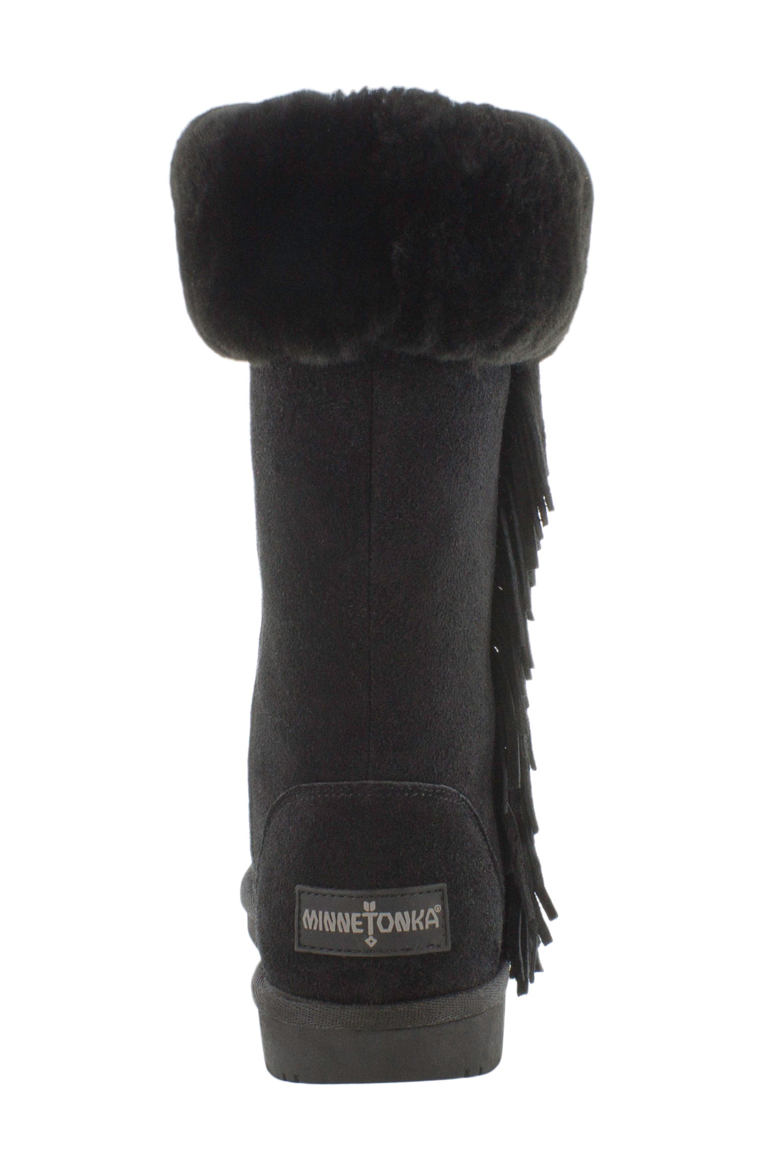 Canyon Genuine Shearling Trim Boot,                             Alternate thumbnail 4, color,                             Black