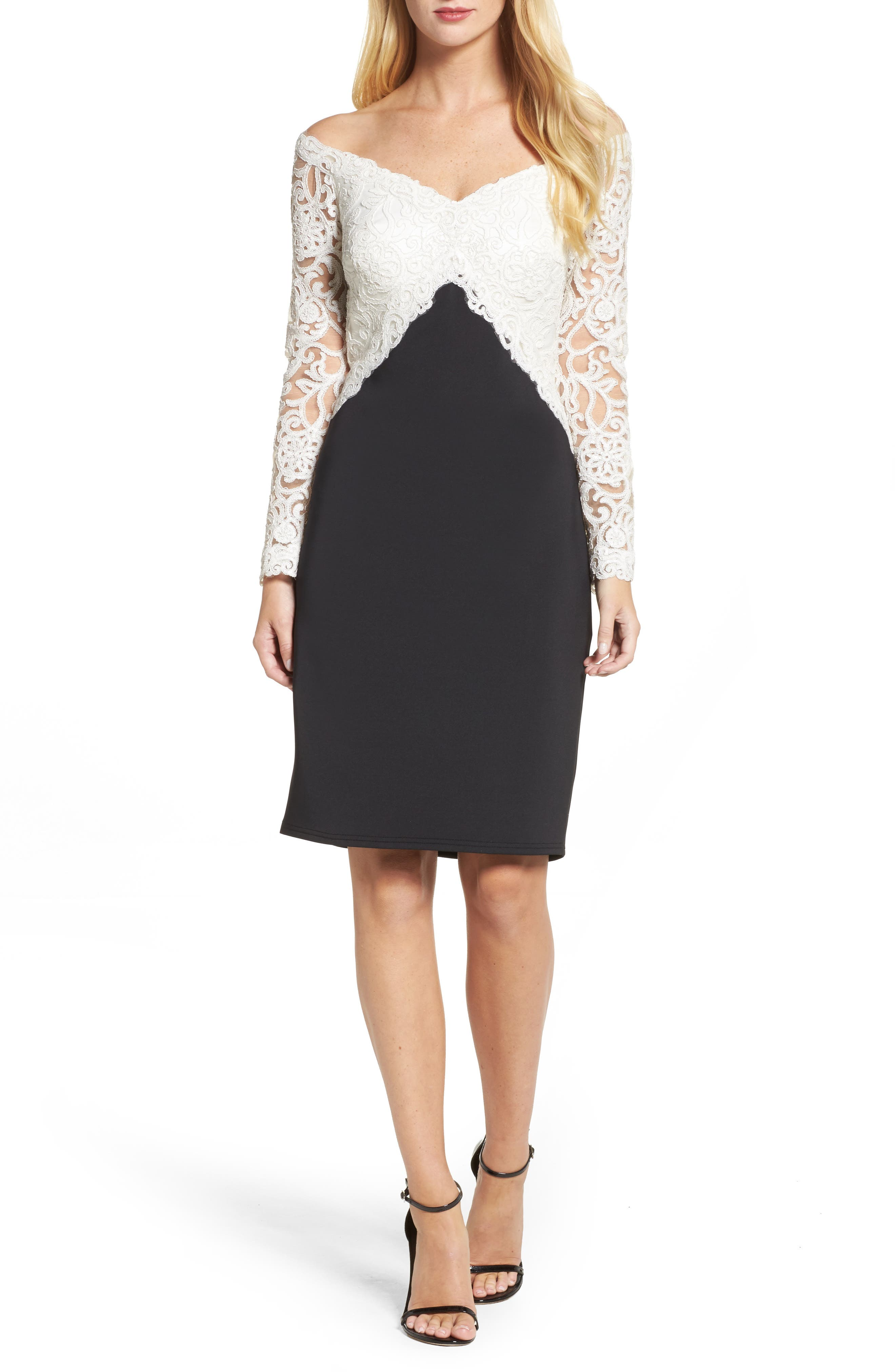 Soutache Off the Shoulder Sheath Dress,                         Main,                         color, Ivory/ Black
