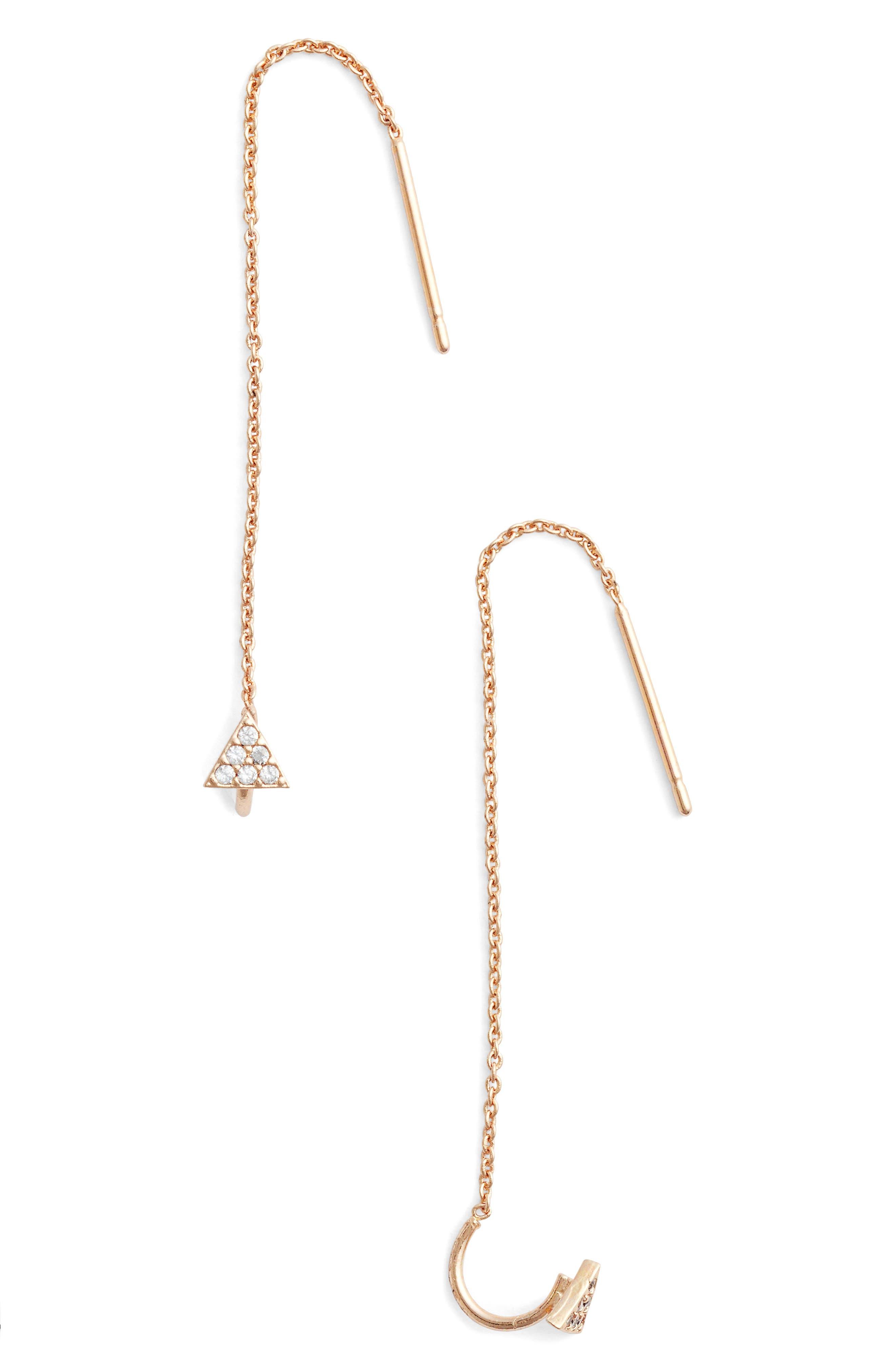 Hayek Threader Earrings,                         Main,                         color, Rose Gold